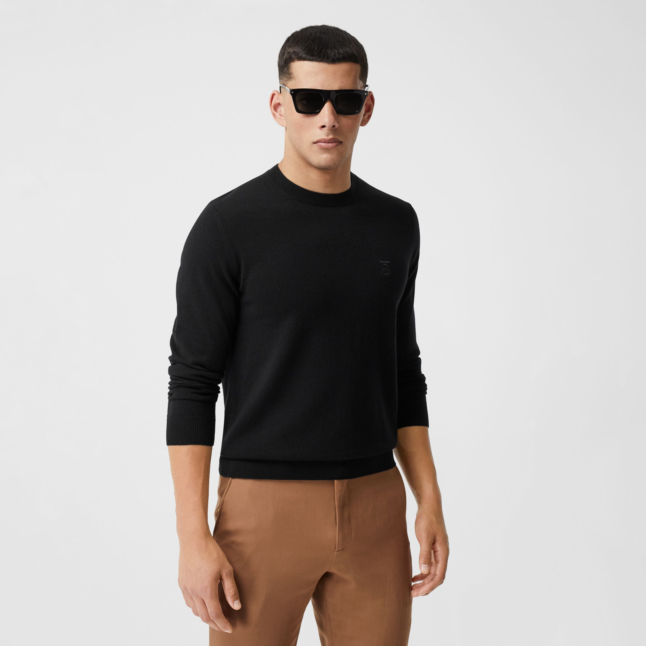 Monogram Motif Cashmere Sweater in Black - Men | Burberry Australia - 1