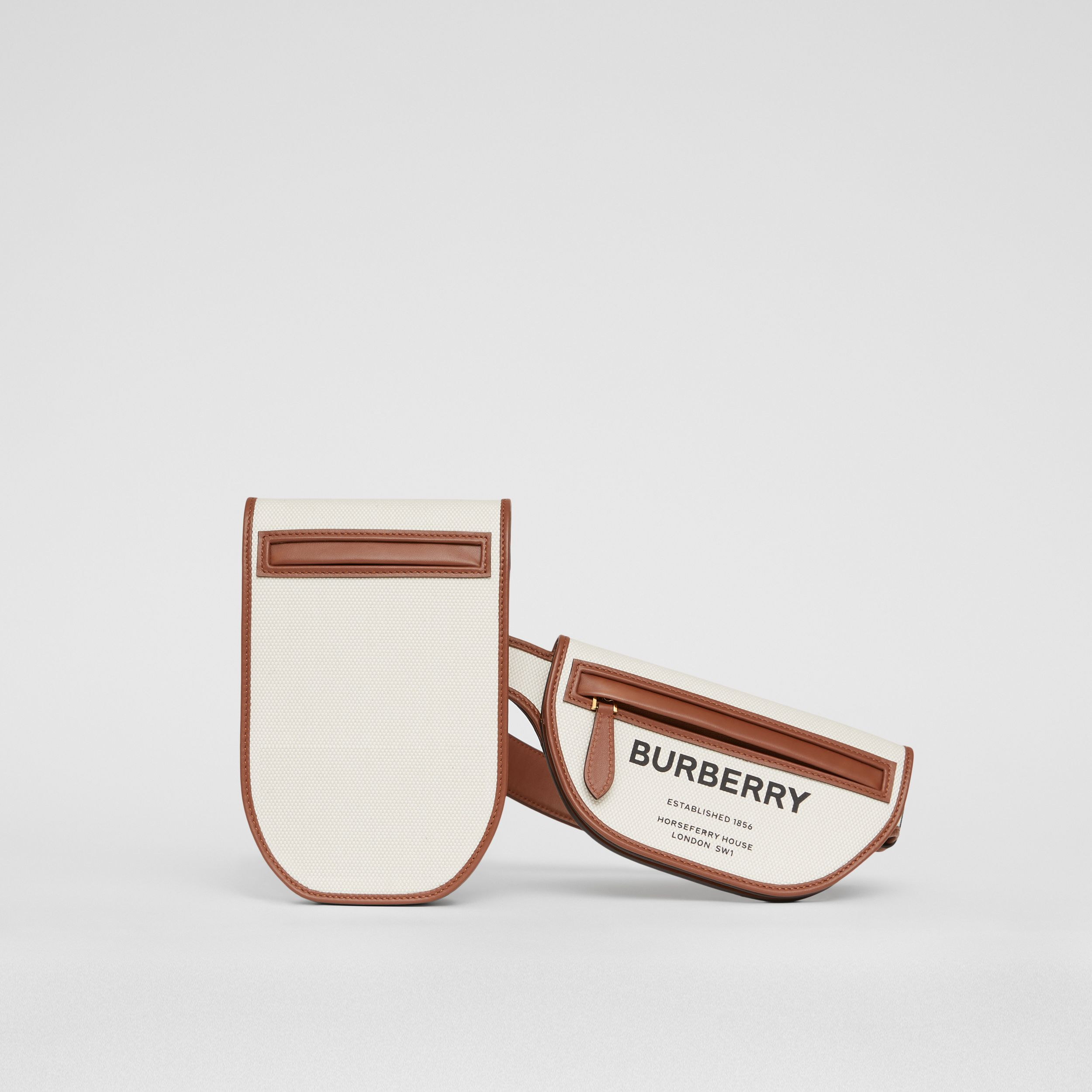 Horseferry Print Canvas and Leather Olympia Belt Bag in Natural/tan - Women | Burberry United Kingdom - 1