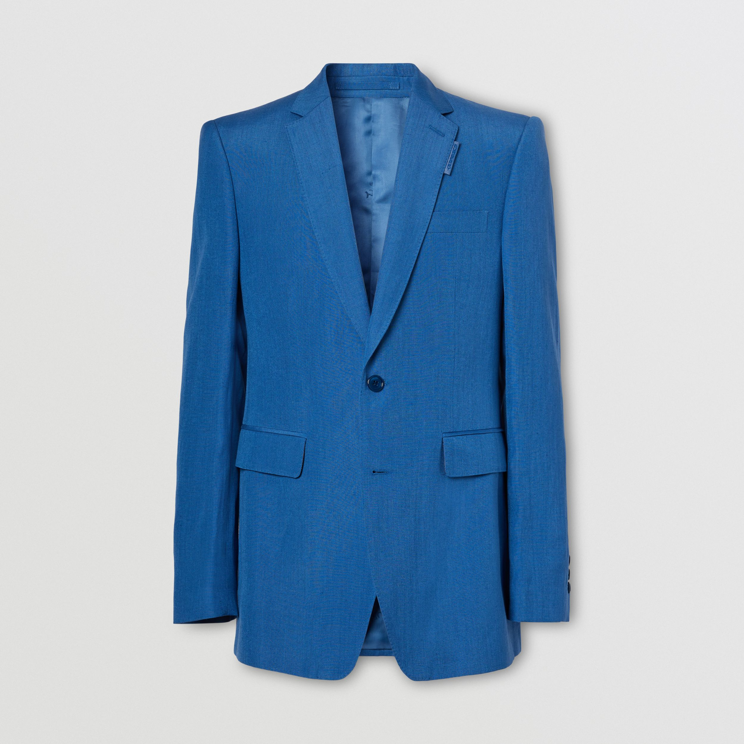 Classic Fit Linen Mohair Silk Tailored Jacket in Dark Cerulean Blue - Men | Burberry Hong Kong S.A.R. - 4