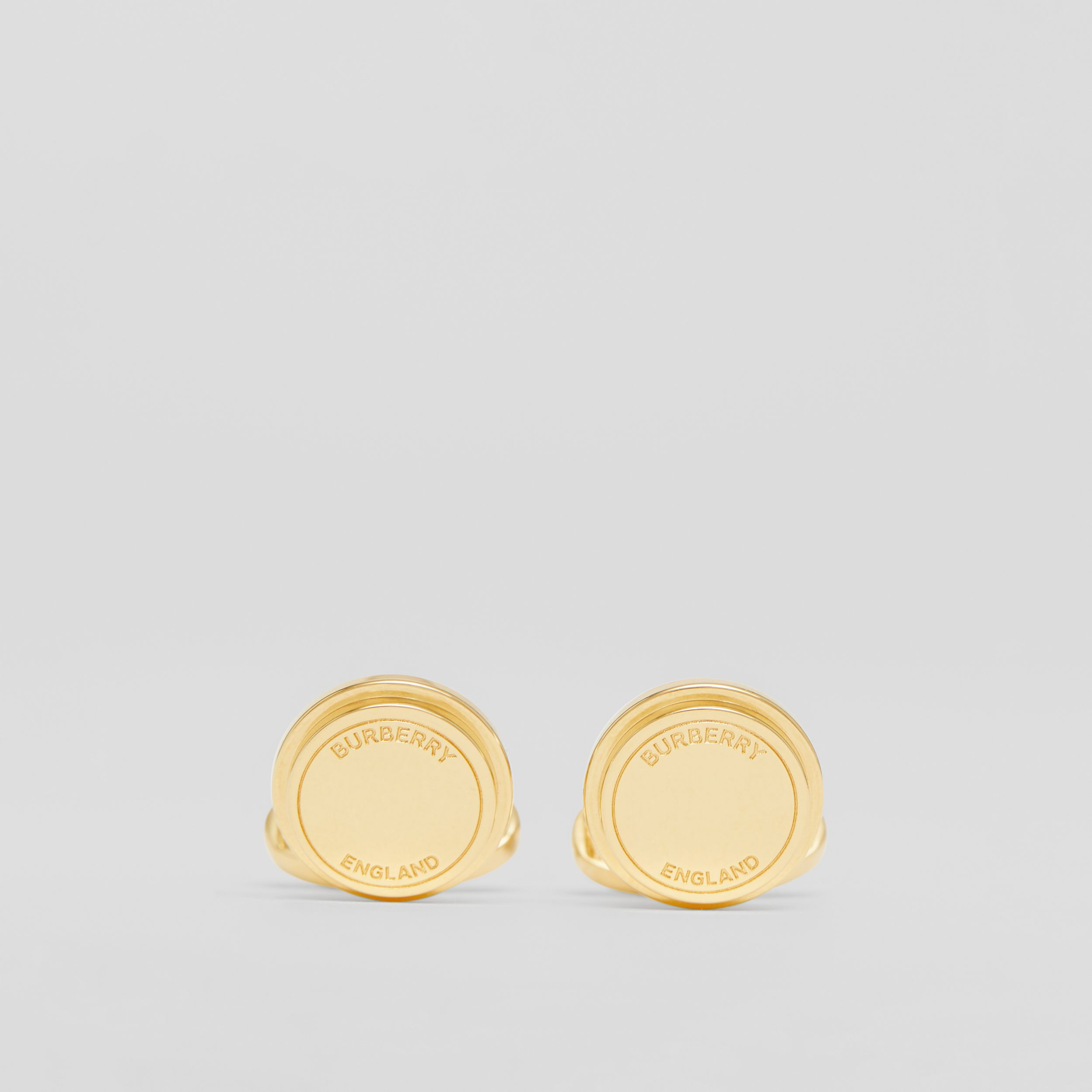 Engraved Gold-plated Cufflinks in Light - Men | Burberry - 1