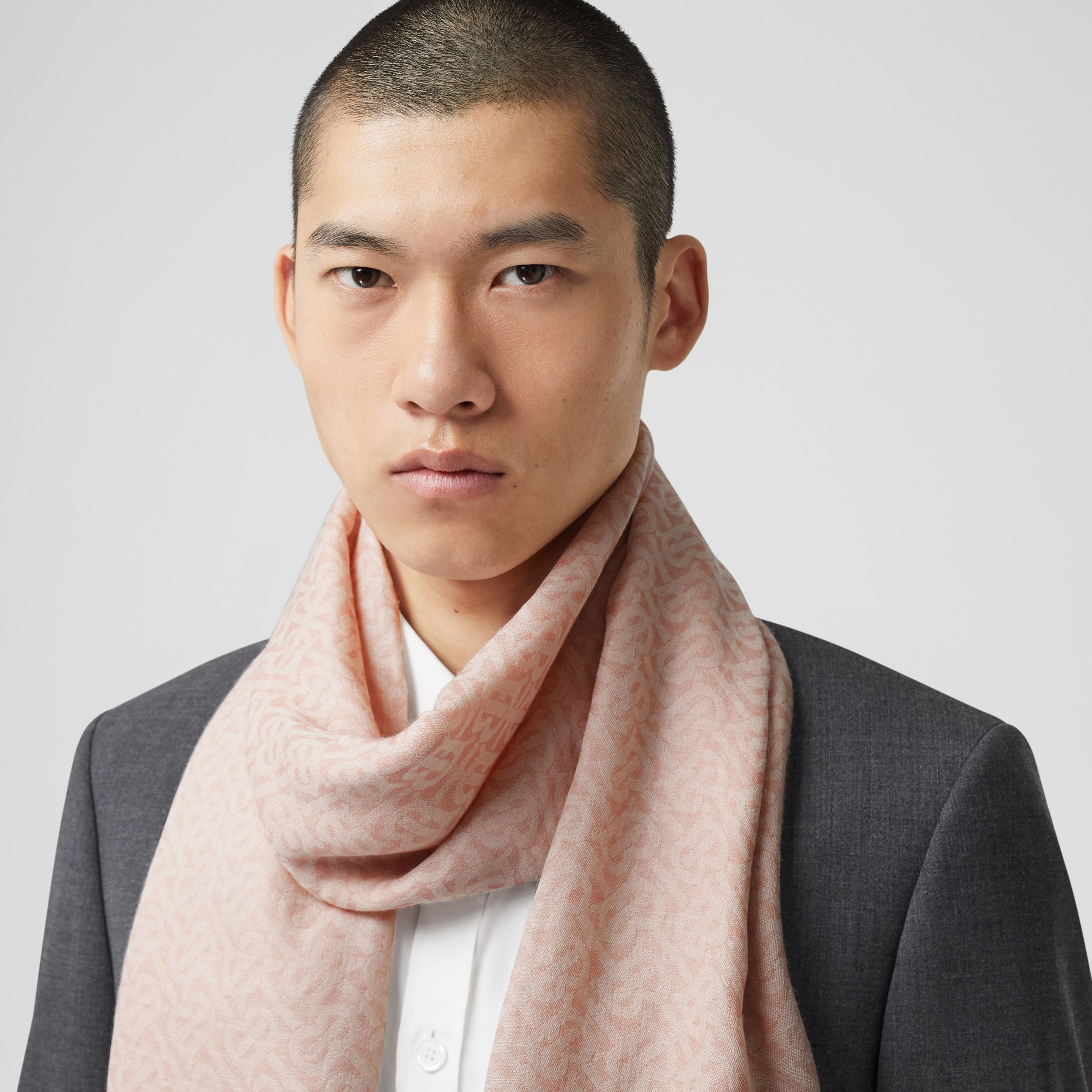 Monogram Wool Silk Jacquard Scarf in Alabaster Pink | Burberry Singapore - 4