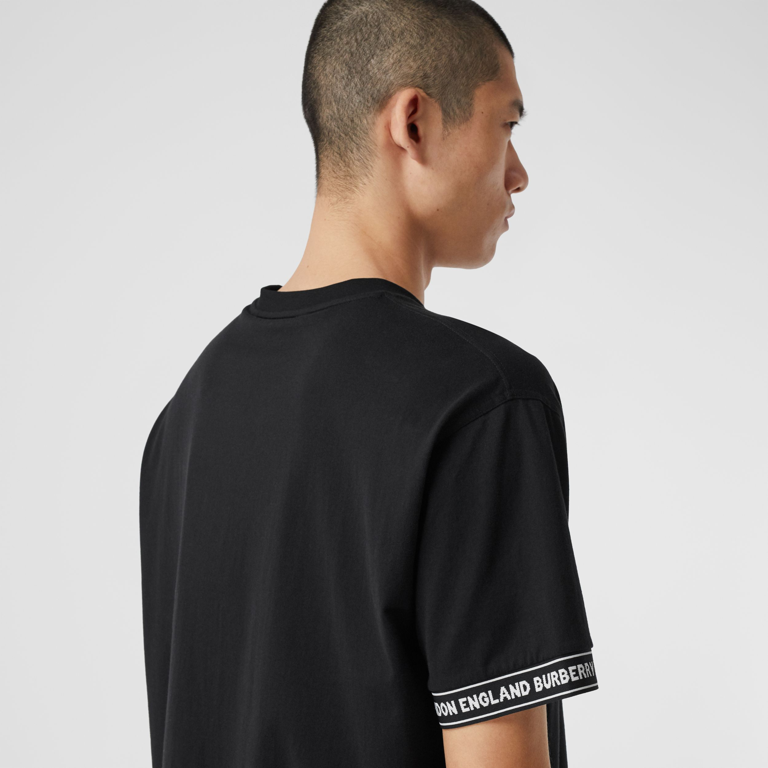 Logo Tape Cotton Oversized T-shirt - Men | Burberry - 2