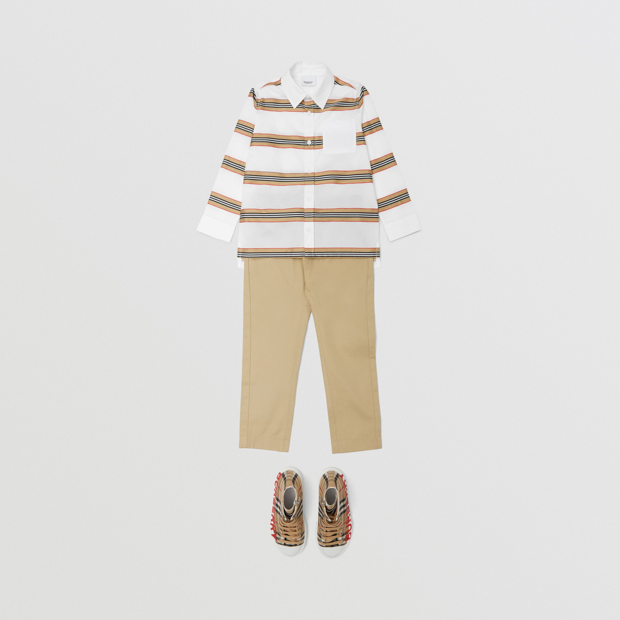 Embroidered Logo Icon Stripe Cotton Shirt in White | Burberry United Kingdom - 3