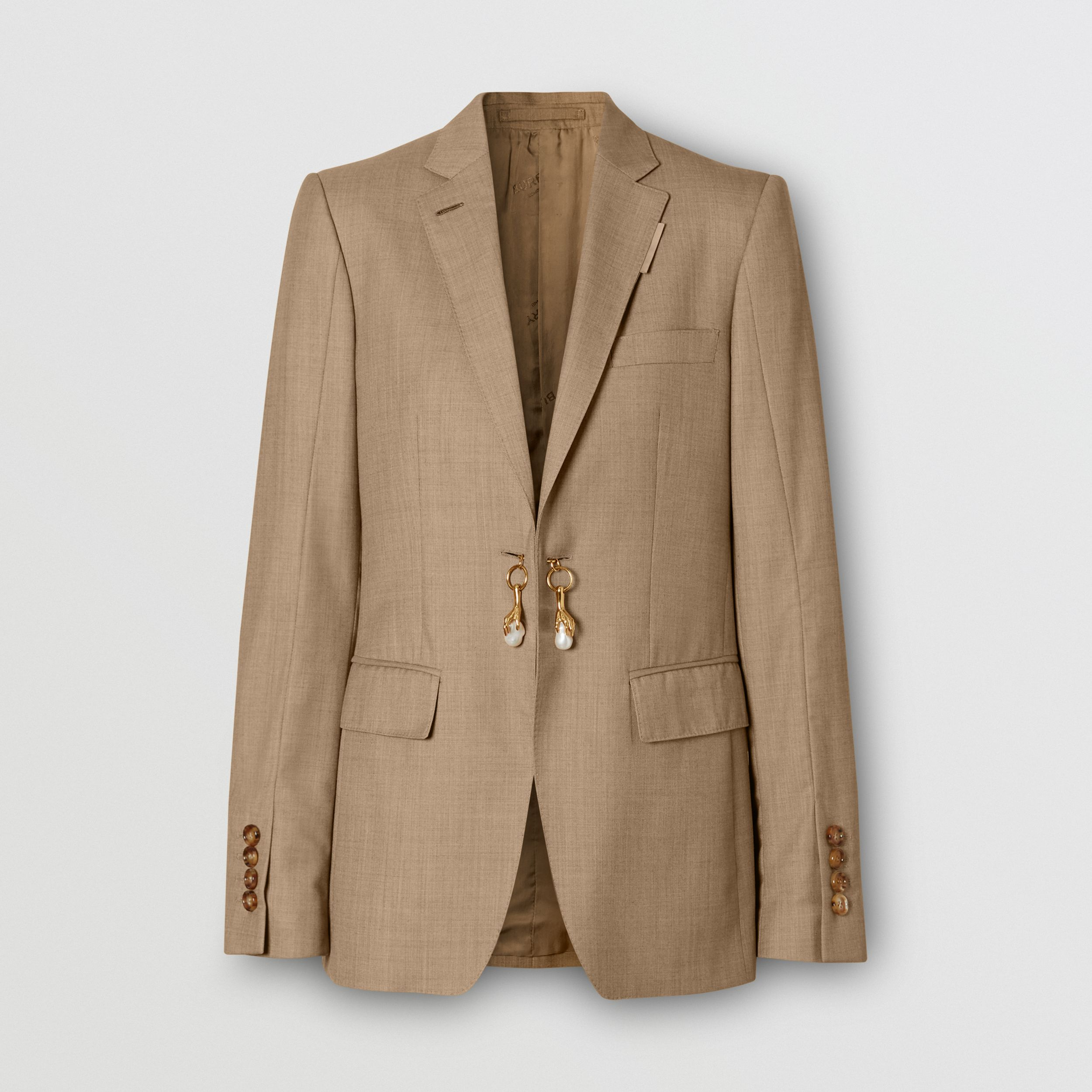 Link Detail Wool Cashmere Blazer in Pecan Melange - Women | Burberry - 4