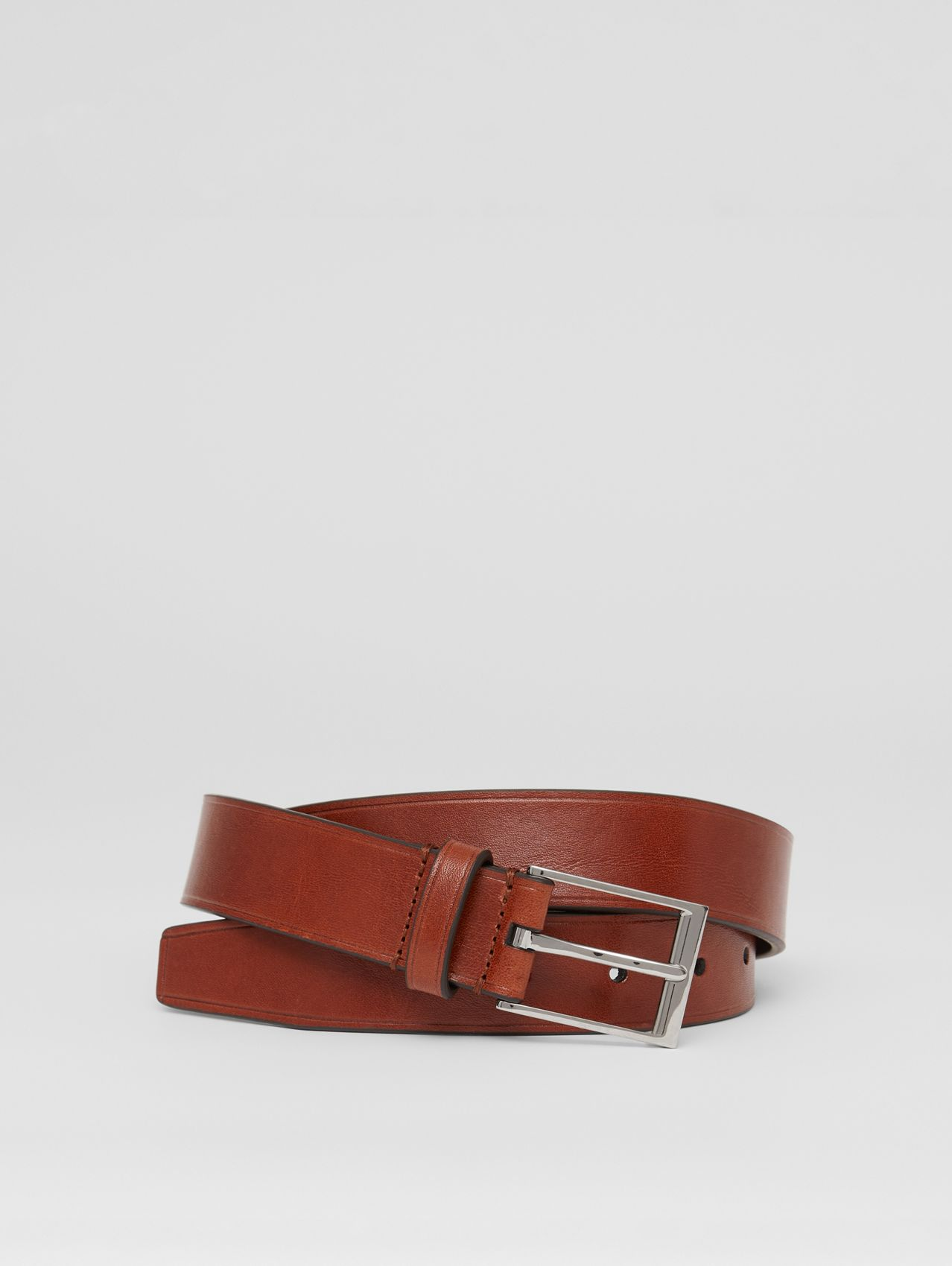 Two-tone Leather Belt in Dark Russet Brown