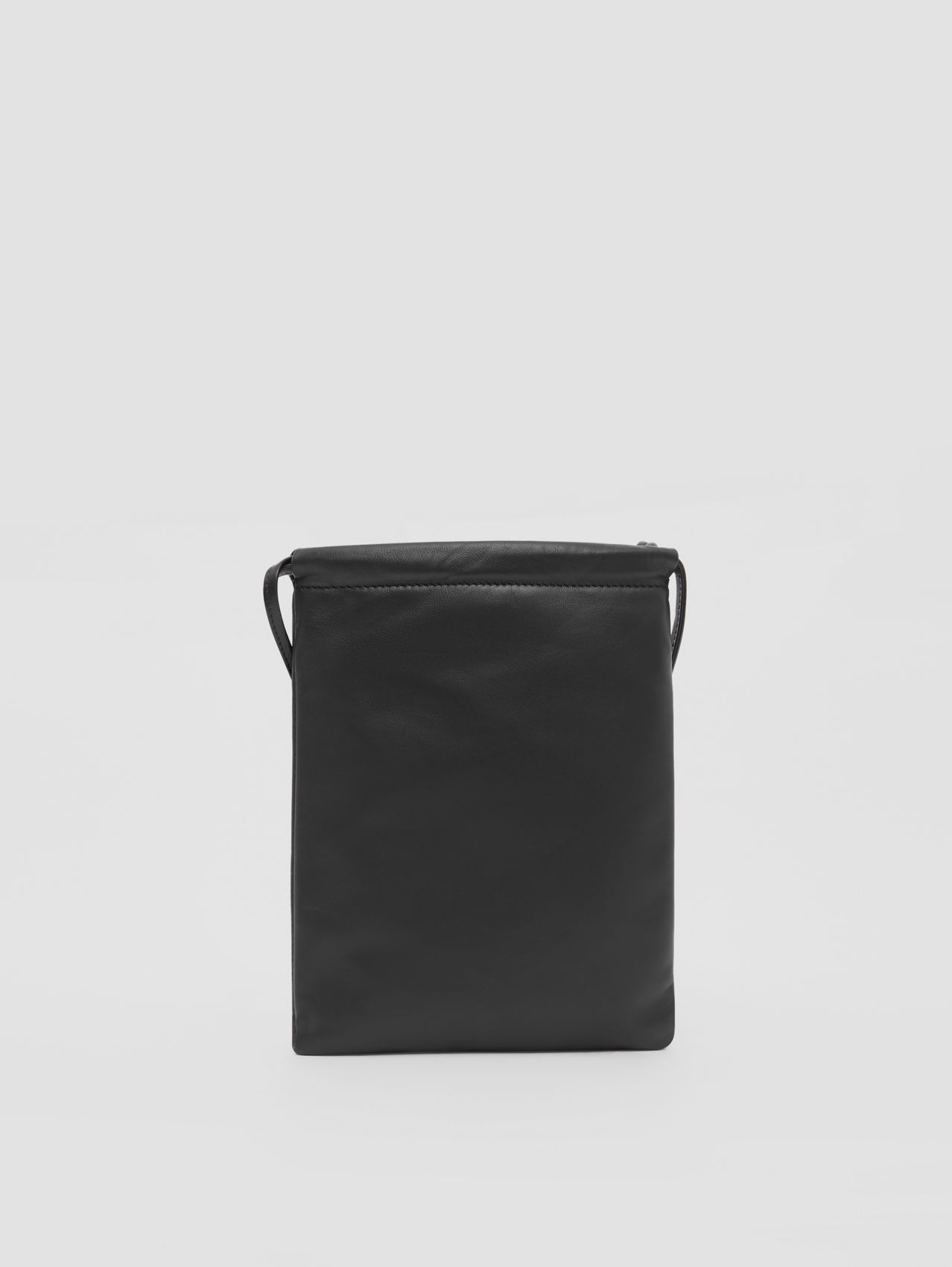 Small Lambskin Drawcord Pouch in Black