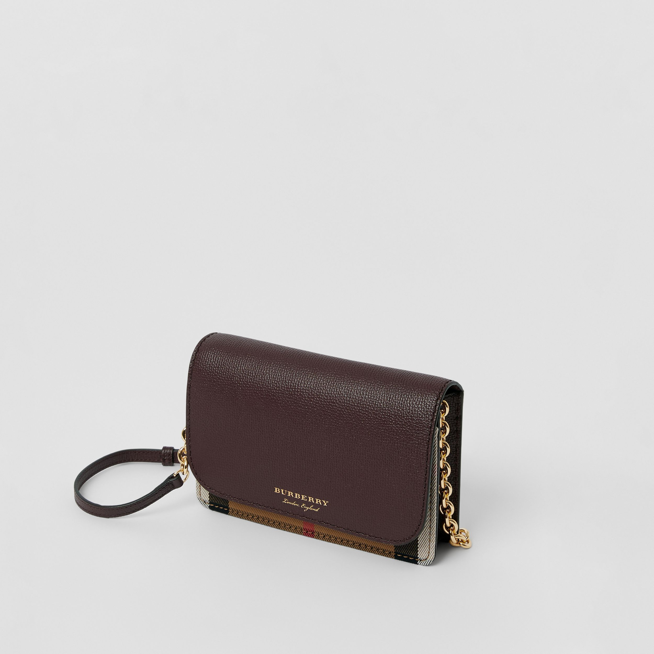 Small Leather and House Check Crossbody Bag in Mahogany Red - Women | Burberry - 3