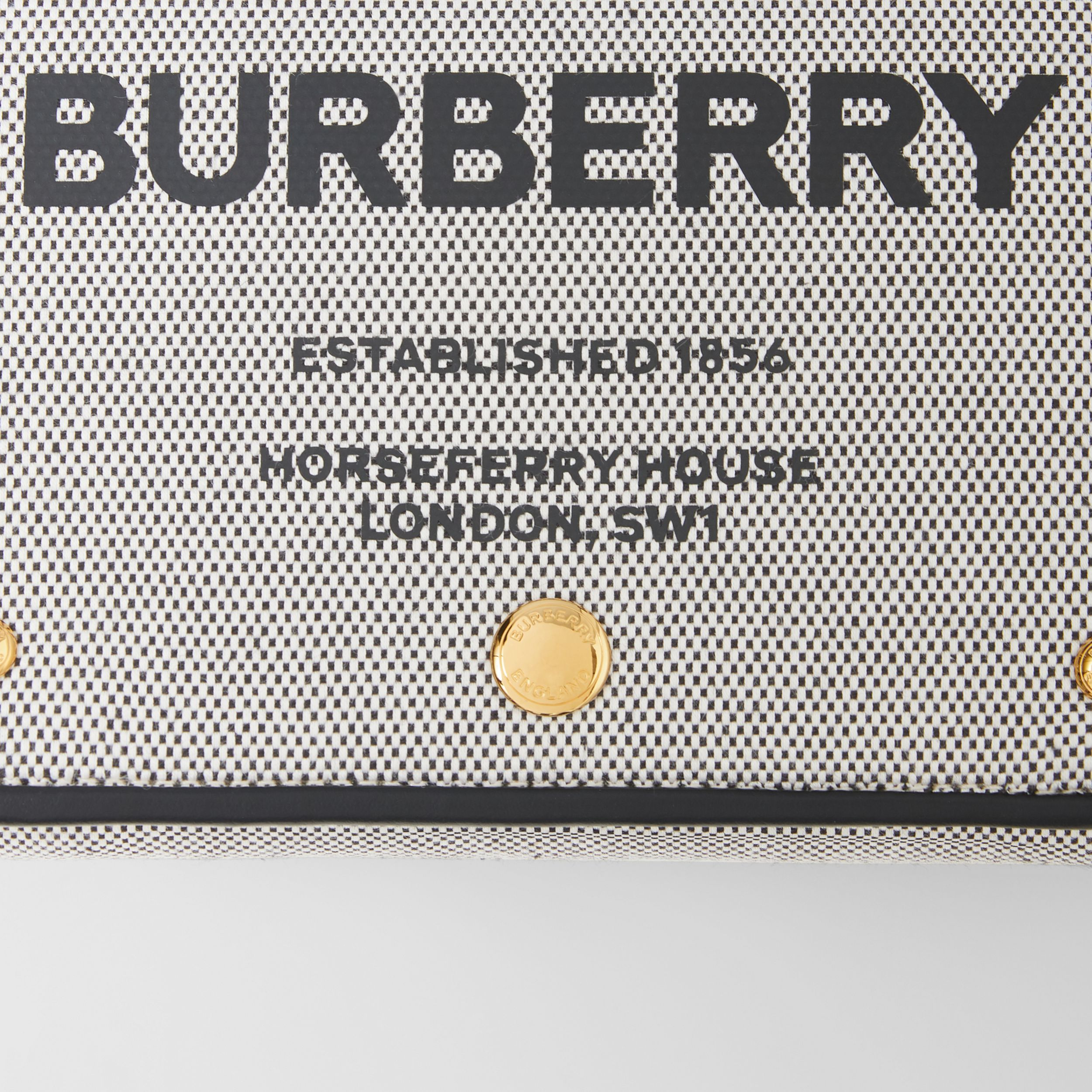 Small Horseferry Print Cotton Canvas Crossbody Bag in Black/tan | Burberry - 2