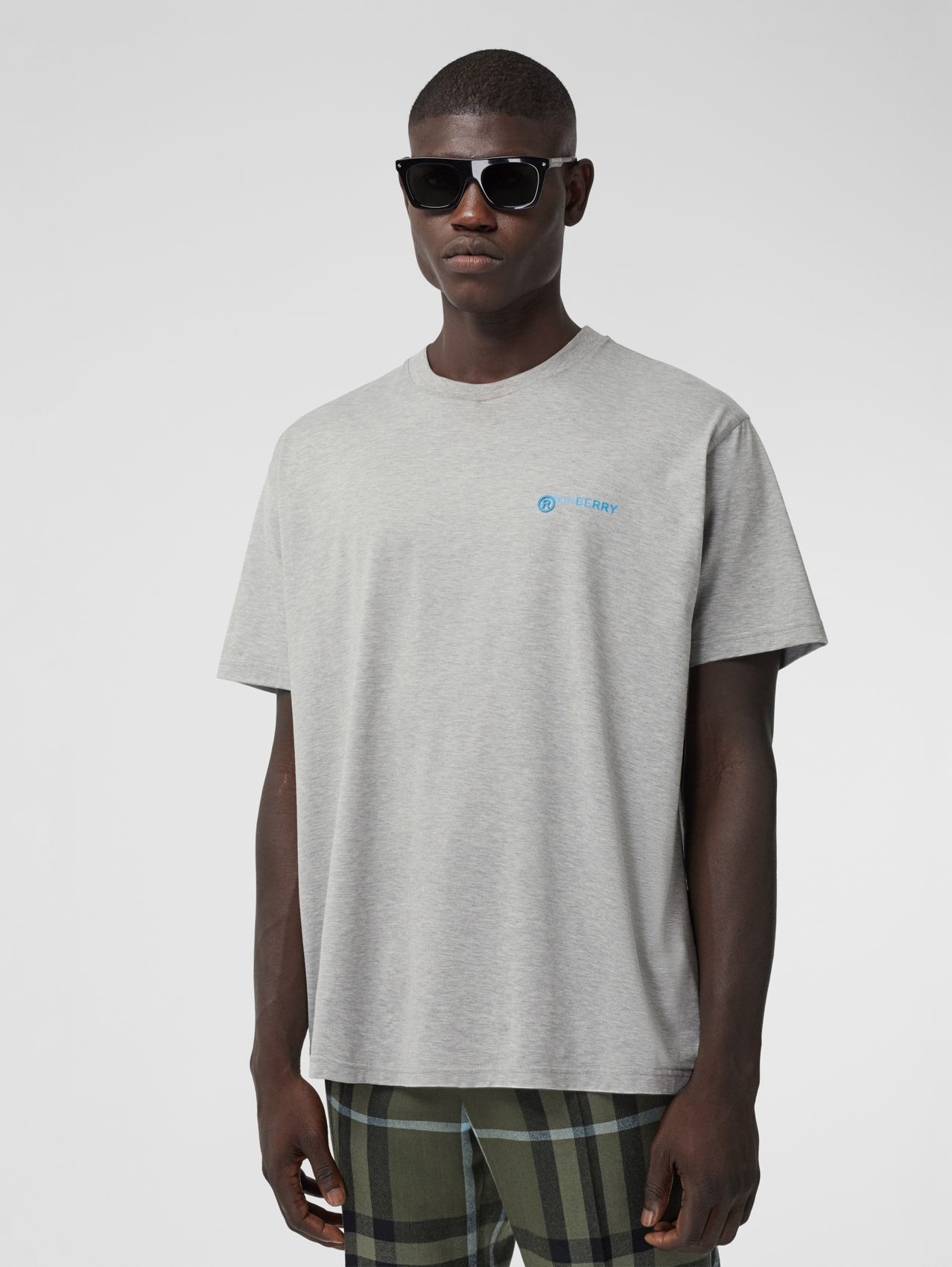 Slogan Print Cotton Oversized T-shirt in Pale Grey Melange