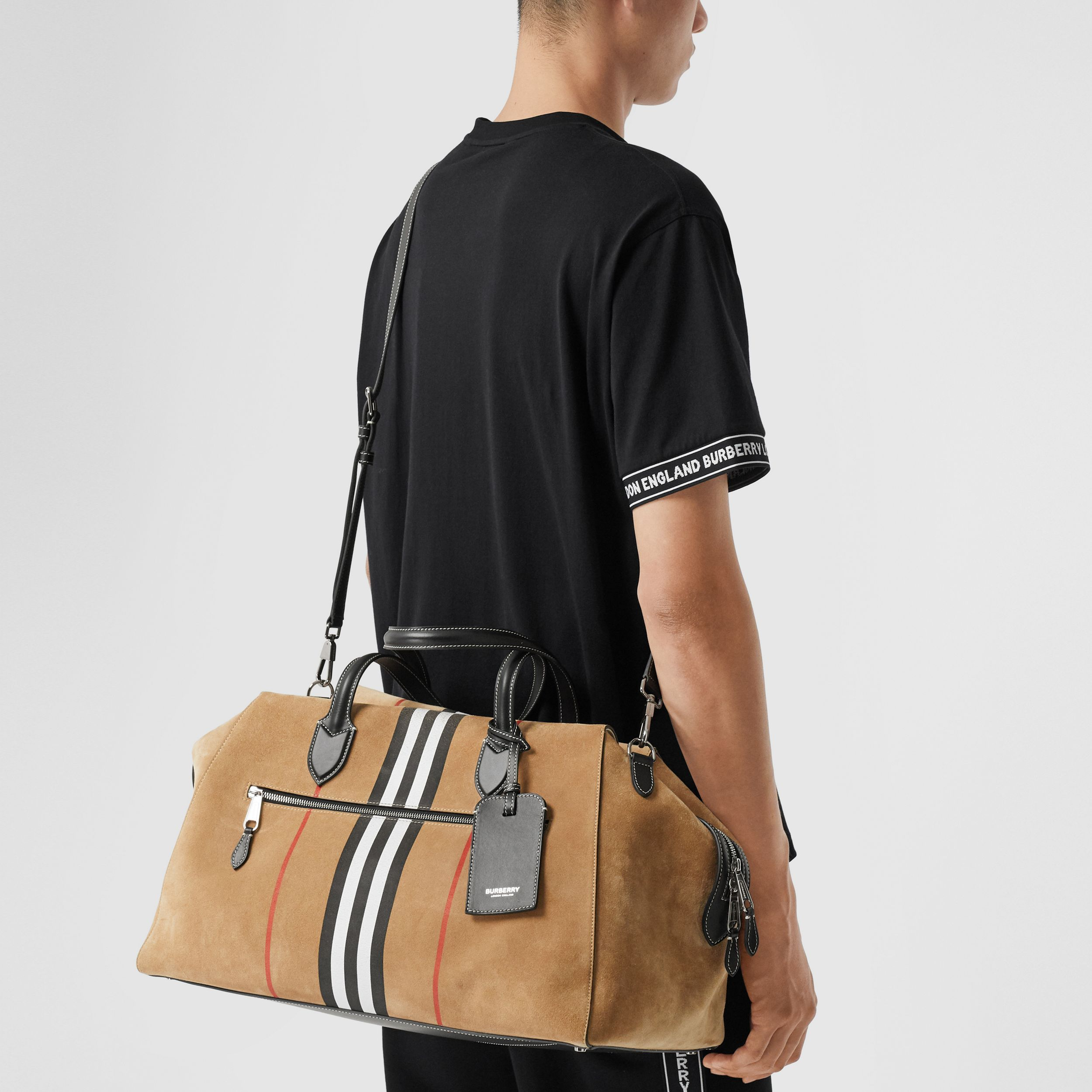Icon Stripe Suede and Topstitched Leather Holdall in Archive Beige - Men | Burberry - 4