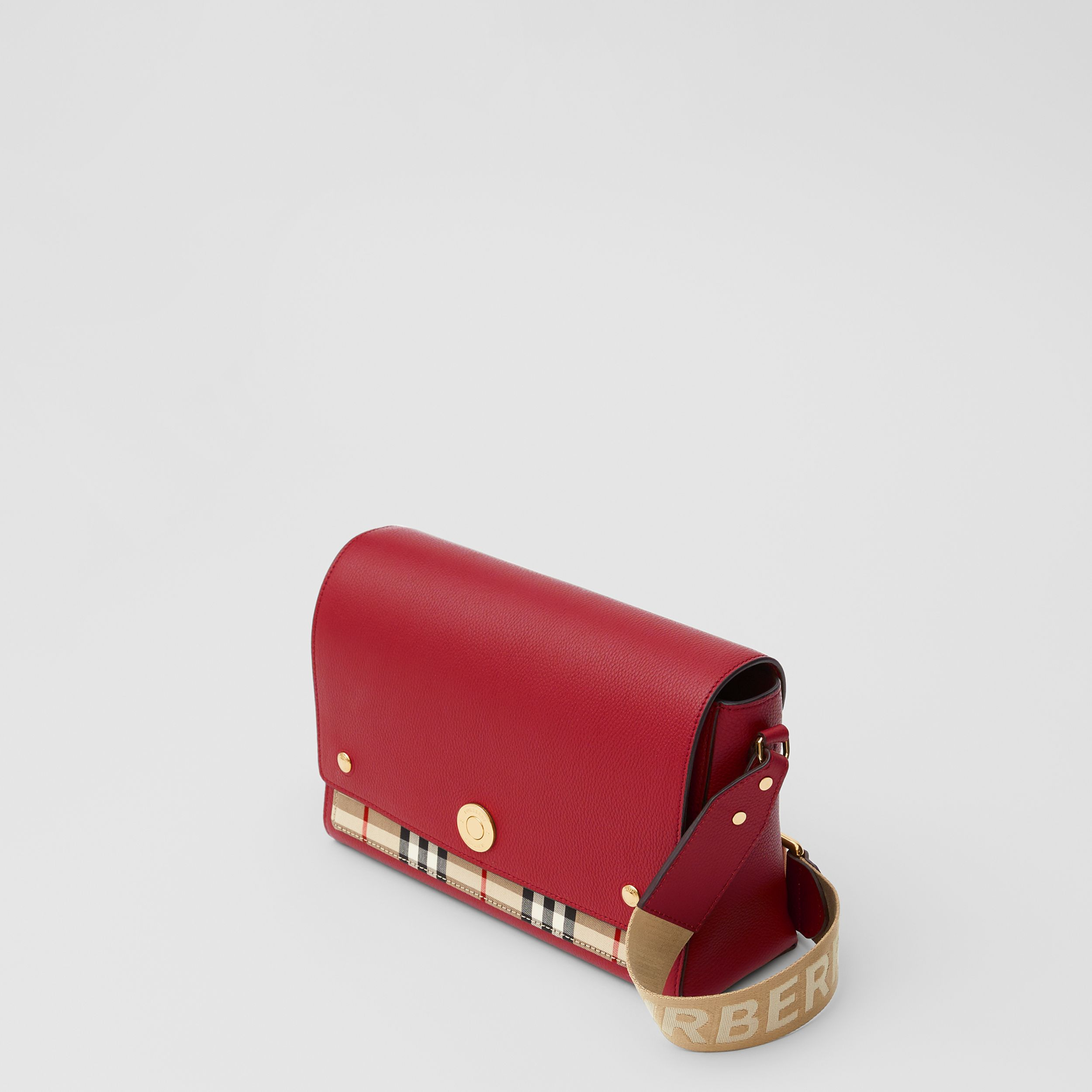 Leather and Vintage Check Note Crossbody Bag in Dark Carmine - Women | Burberry - 4