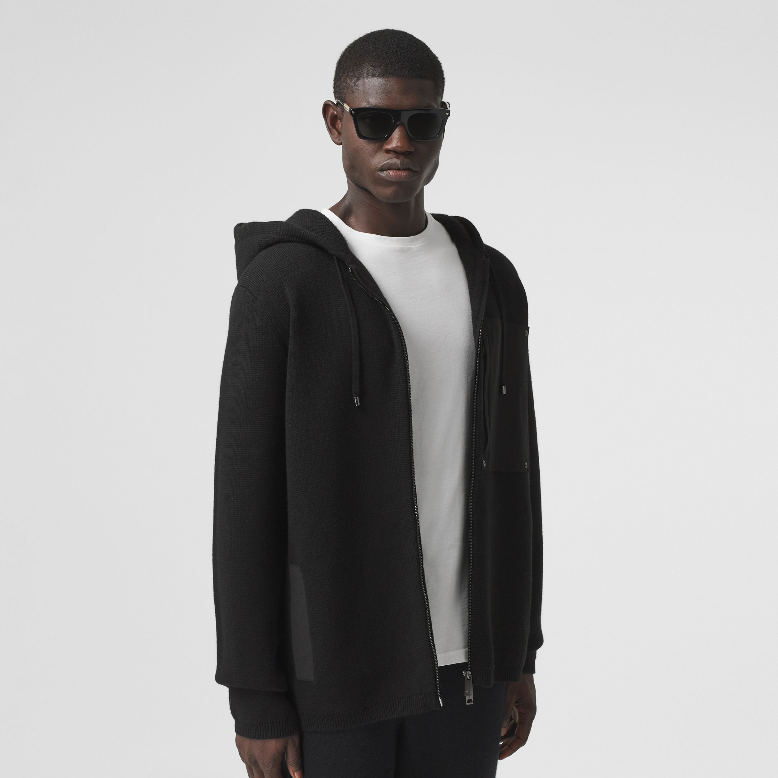 Contrast Pocket Wool Hooded Top in Black - Men | Burberry - 1