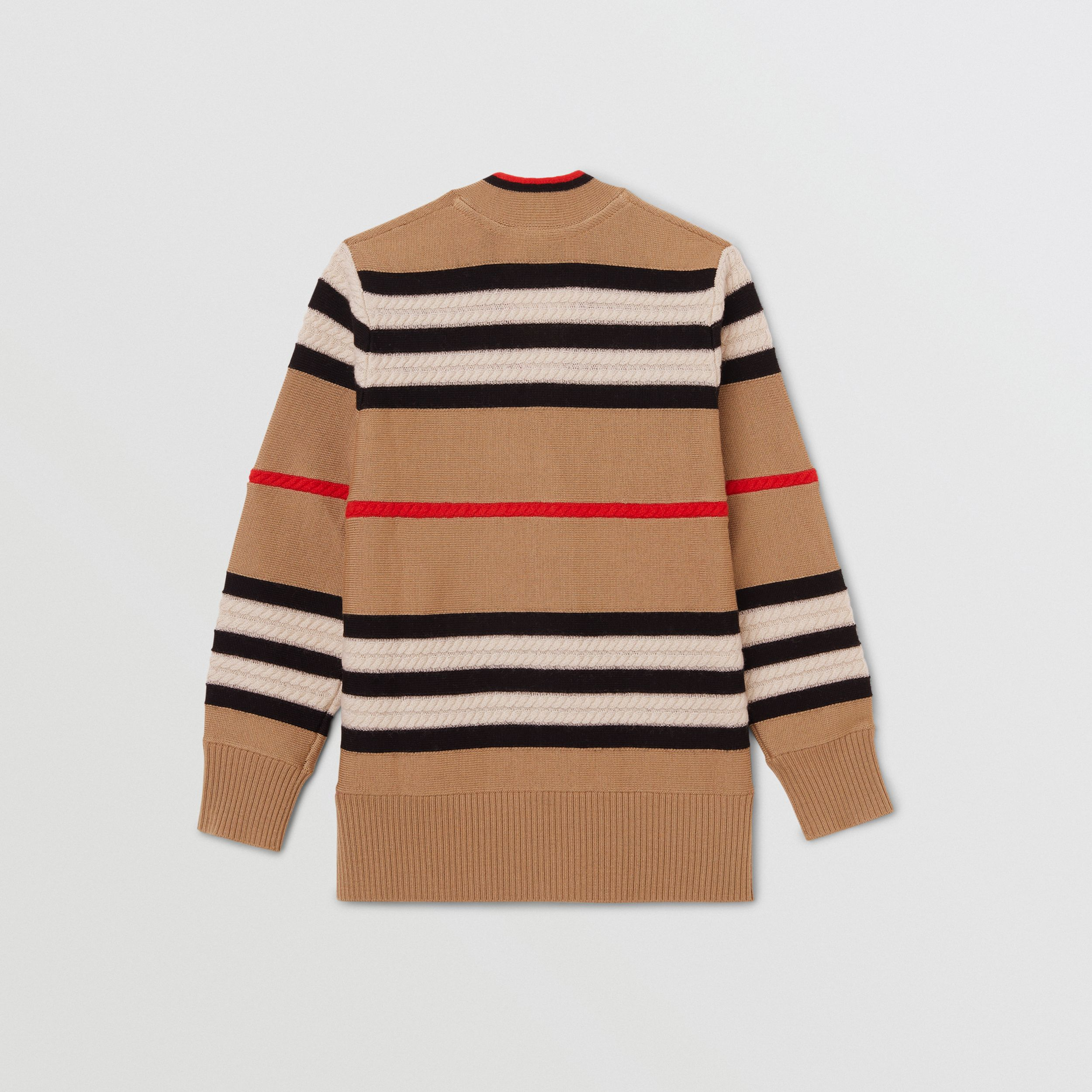Cardigan in lana e cashmere con iconico motivo a righe | Burberry - 4