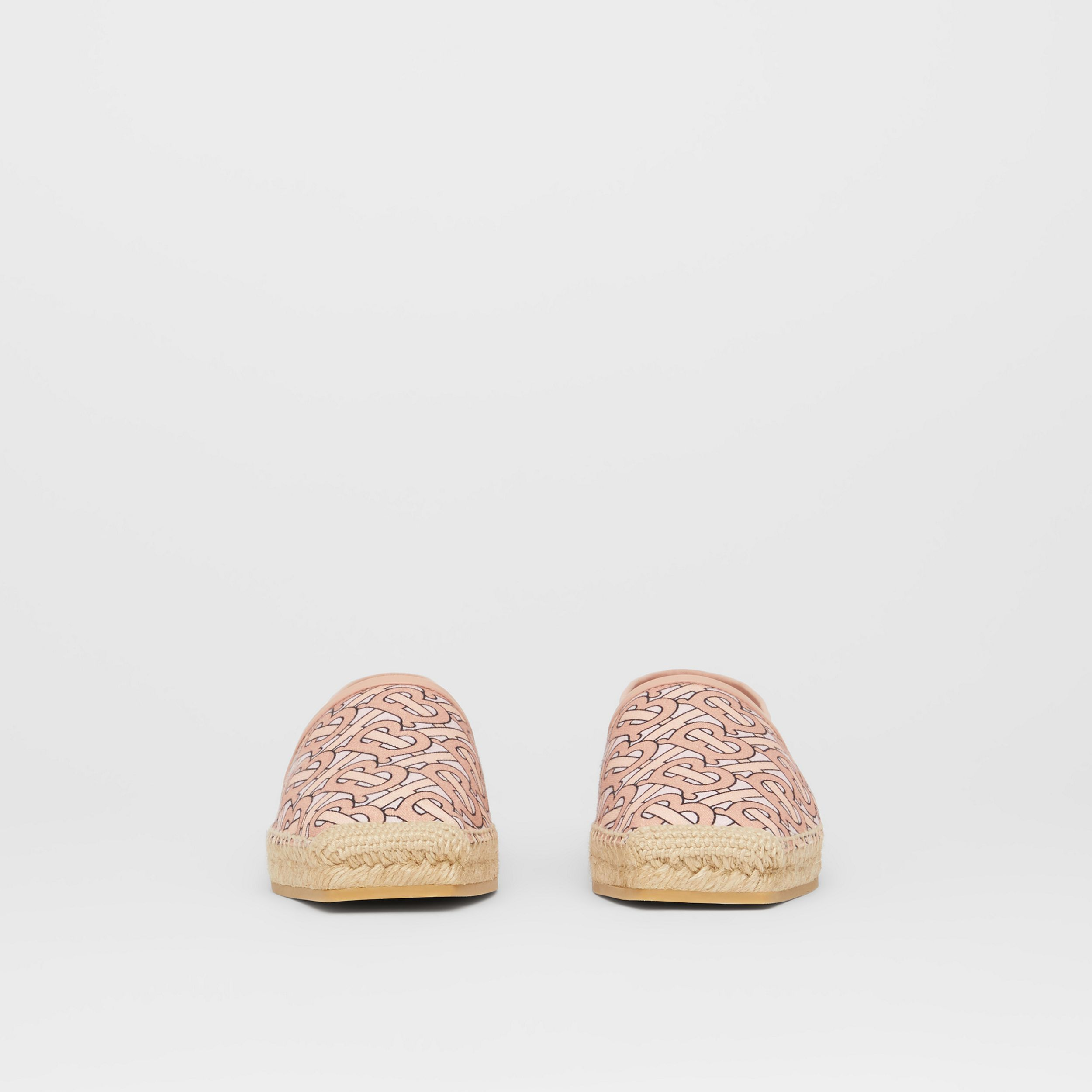 Monogram Print Cotton Canvas Espadrilles in Pale Copper Pink - Women | Burberry - 3