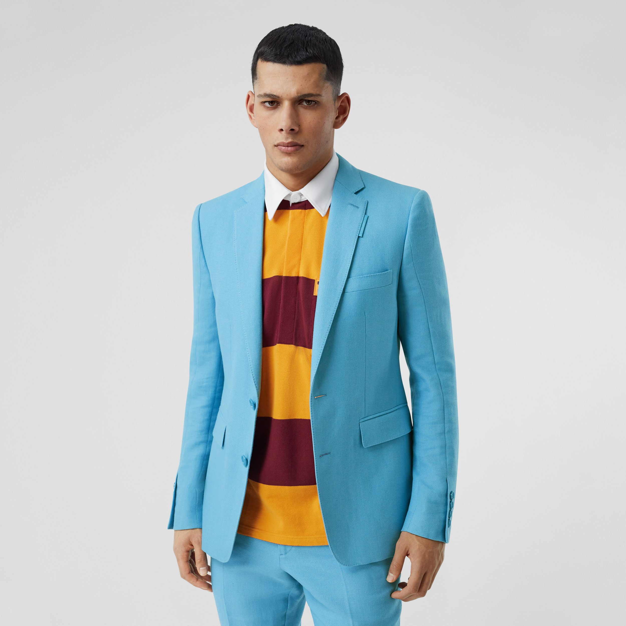 English Fit Wool Ramie Tailored Jacket in Blue Topaz | Burberry - 1