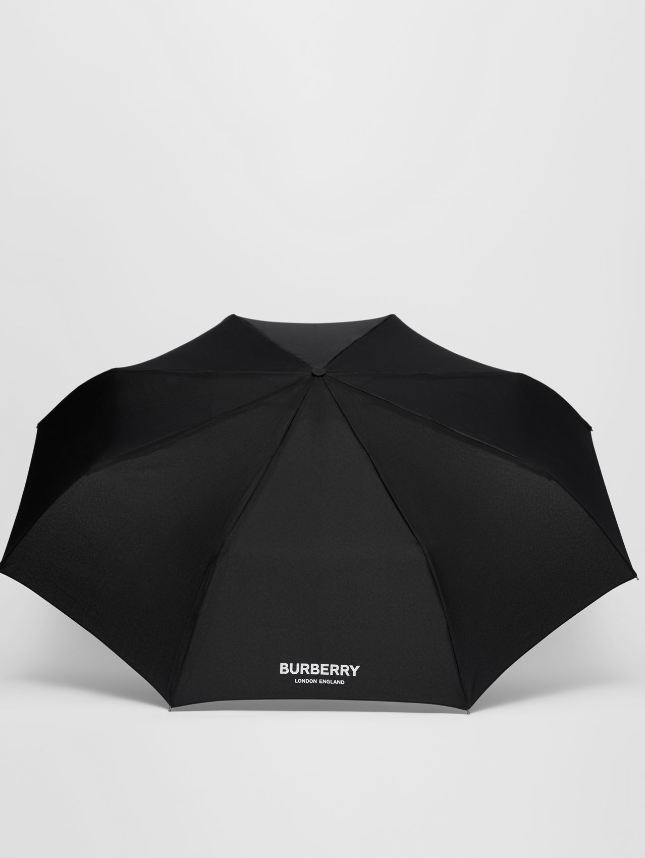 Logo Print Folding Umbrella in Black