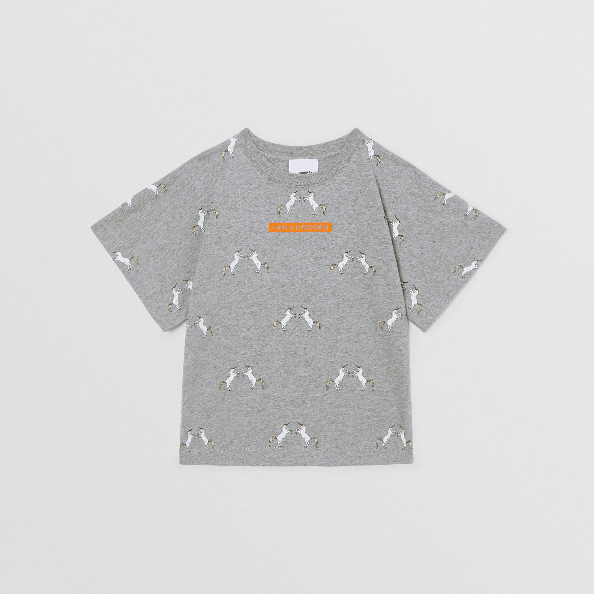 Unicorn Slogan Print Cotton T-shirt in Grey Melange | Burberry - 1
