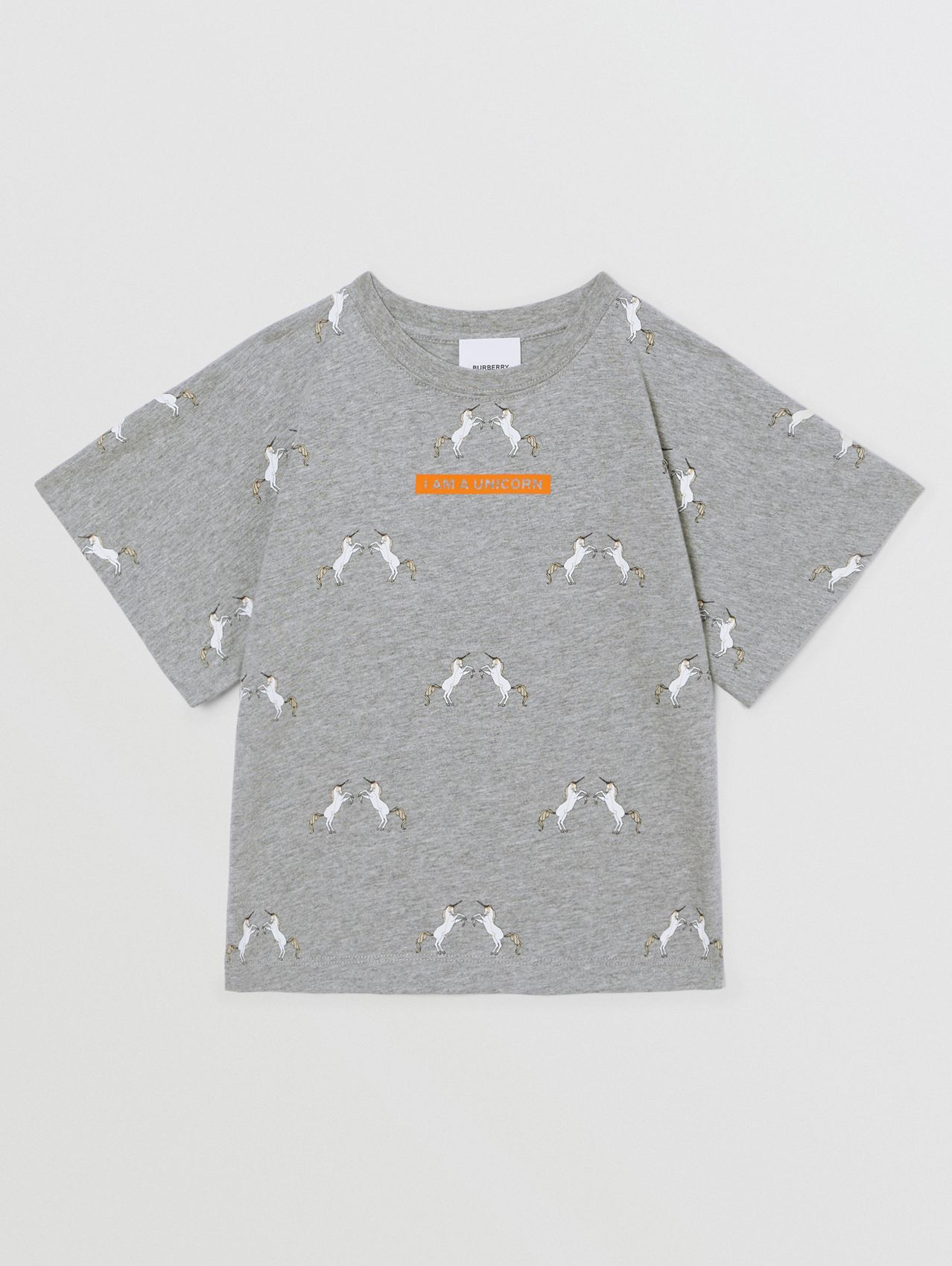 Unicorn Slogan Print Cotton T-shirt in Grey Melange