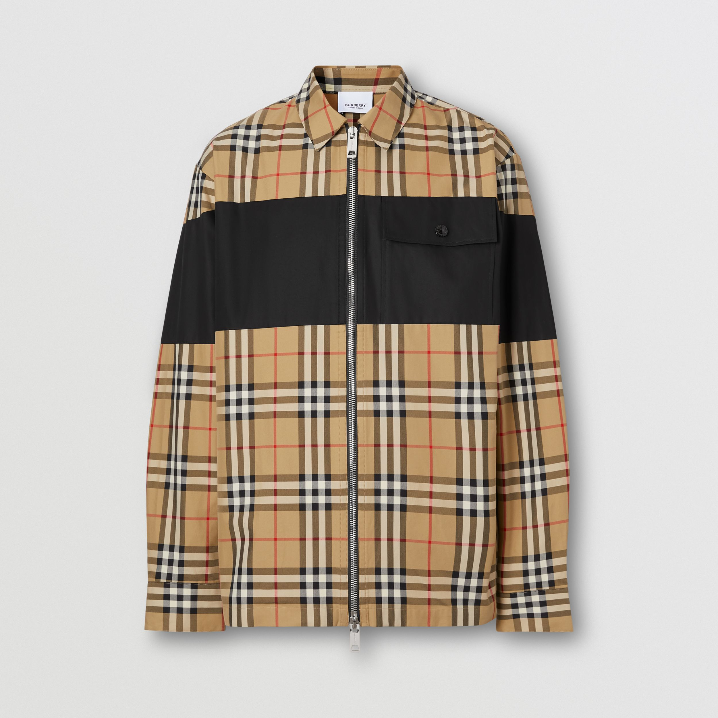 Contrast Panel Check Cotton Shirt in Archive Beige - Men | Burberry - 4