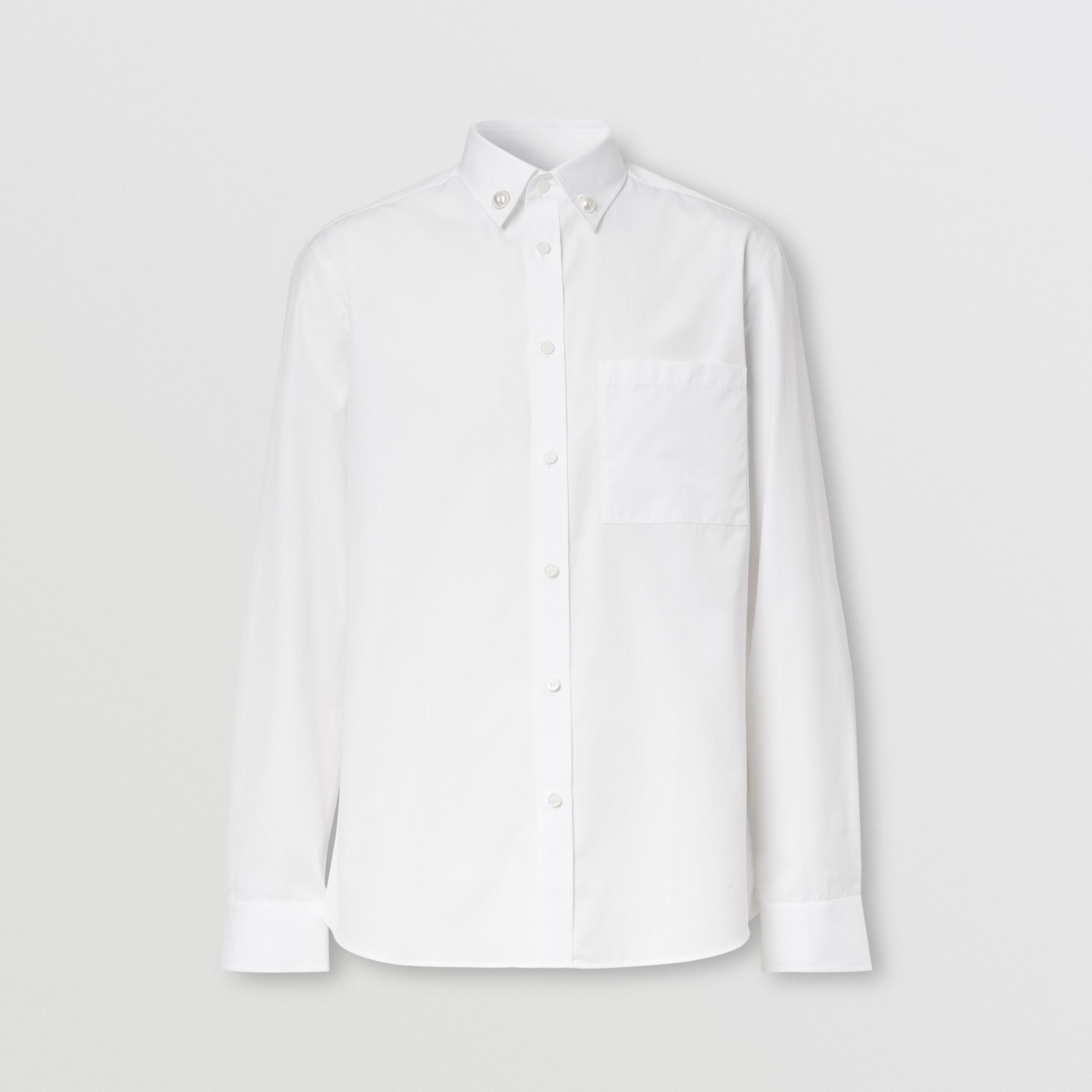 Slim Fit Resin Pearl Detail Cotton Shirt in White - Men | Burberry - 4
