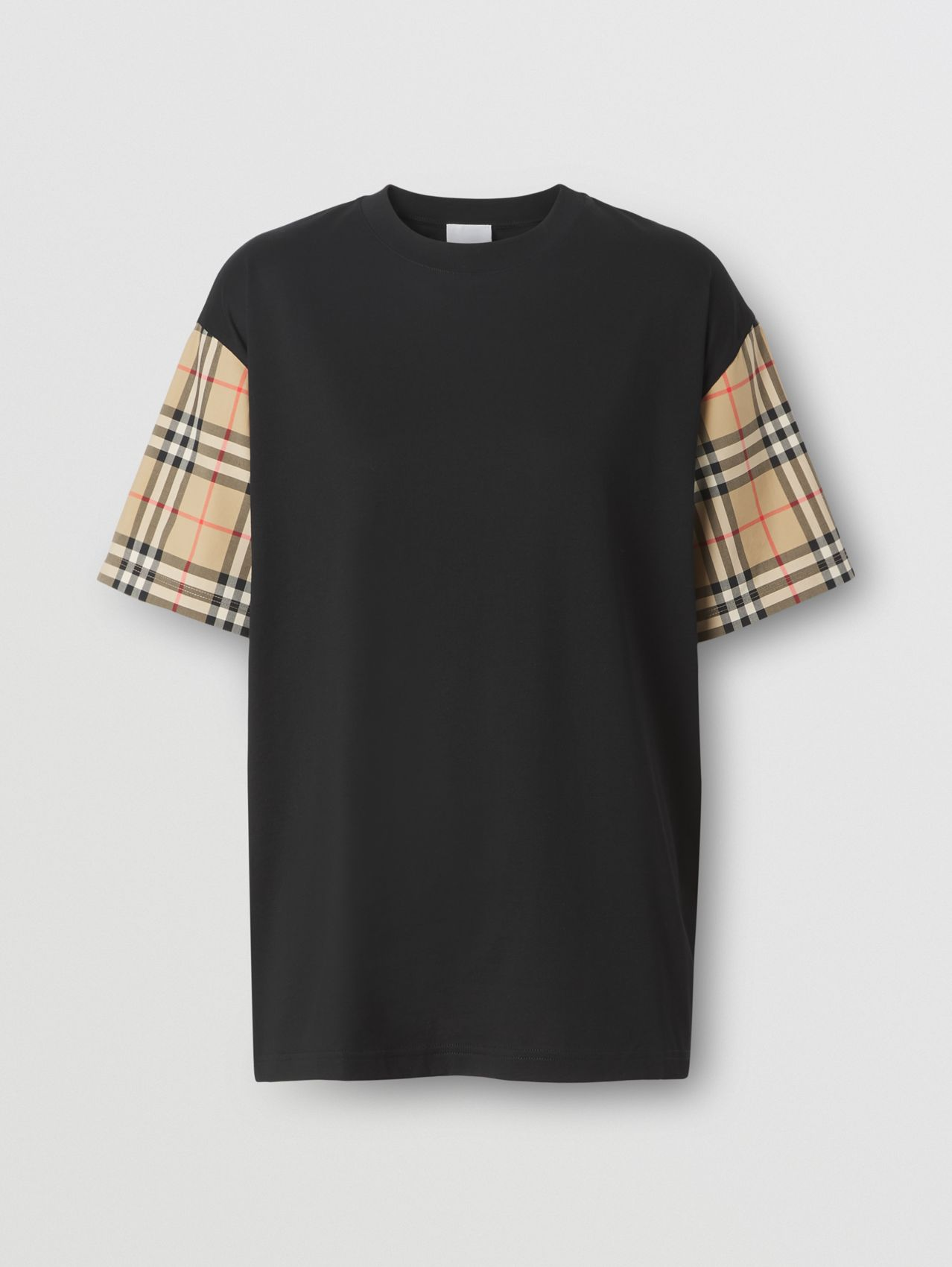Vintage Check Sleeve Cotton Oversized T-shirt in Black