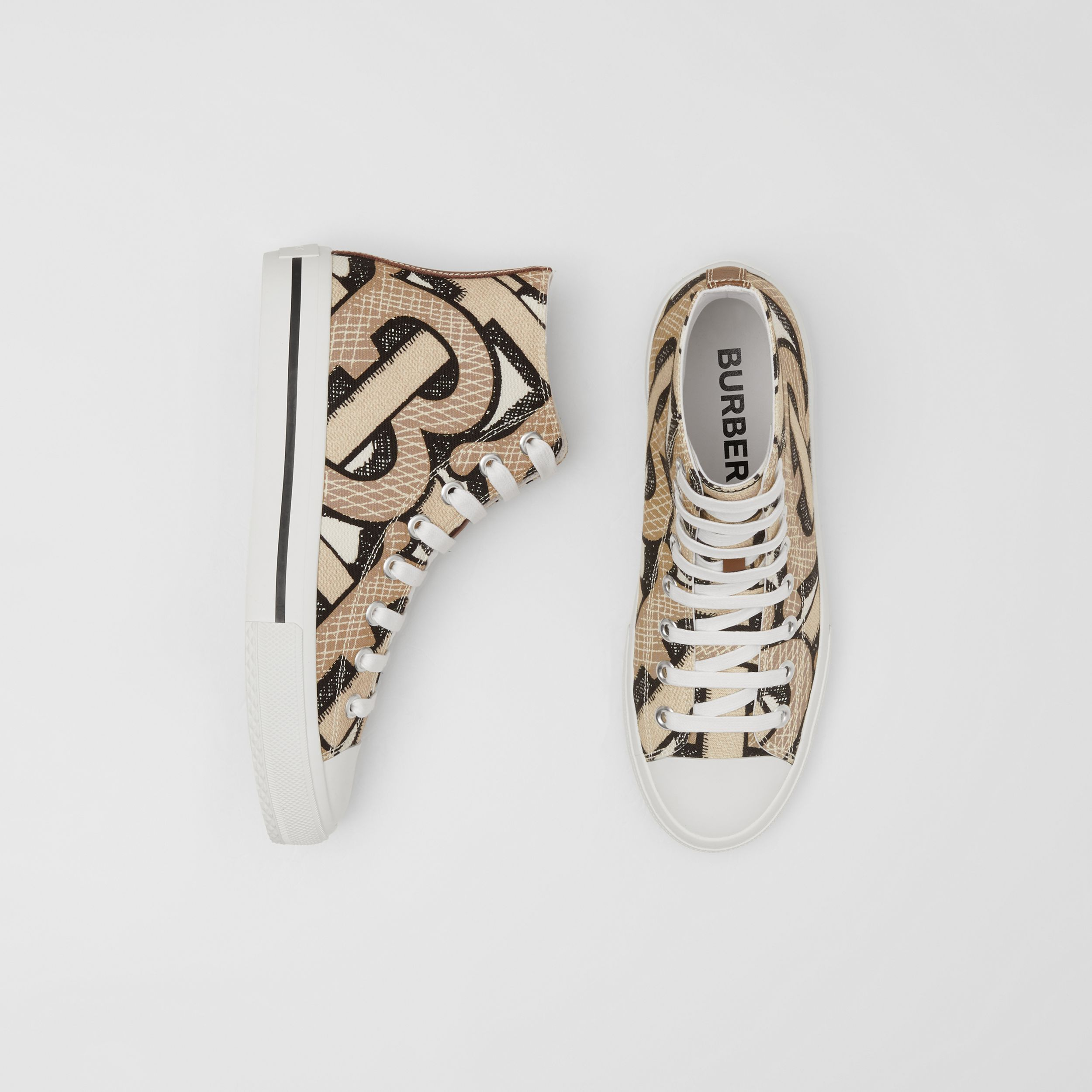 Monogram Print Cotton Canvas High-top Sneakers in Dark Beige - Women | Burberry - 1