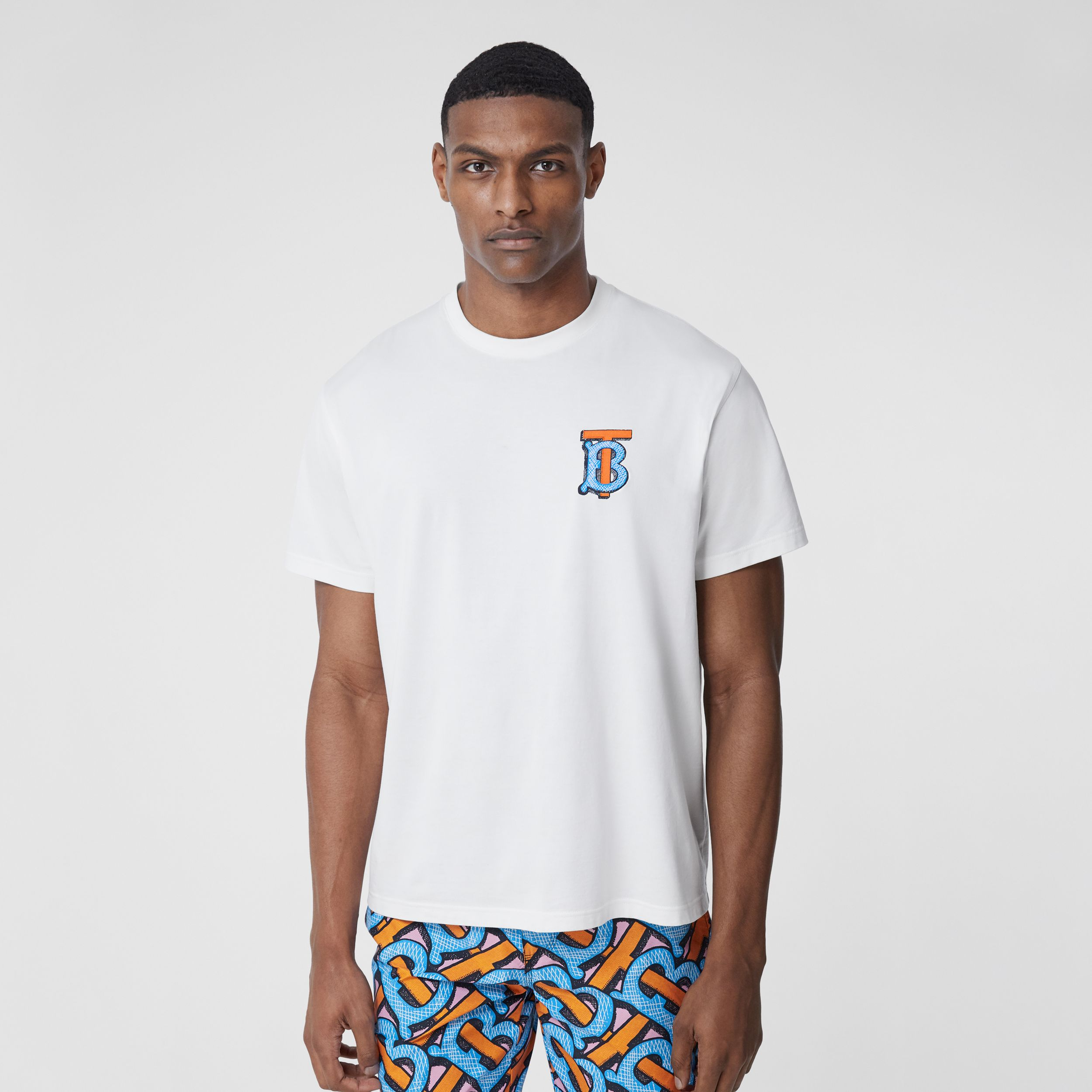 Monogram Motif Cotton T-shirt – Unisex in White | Burberry Canada - 3
