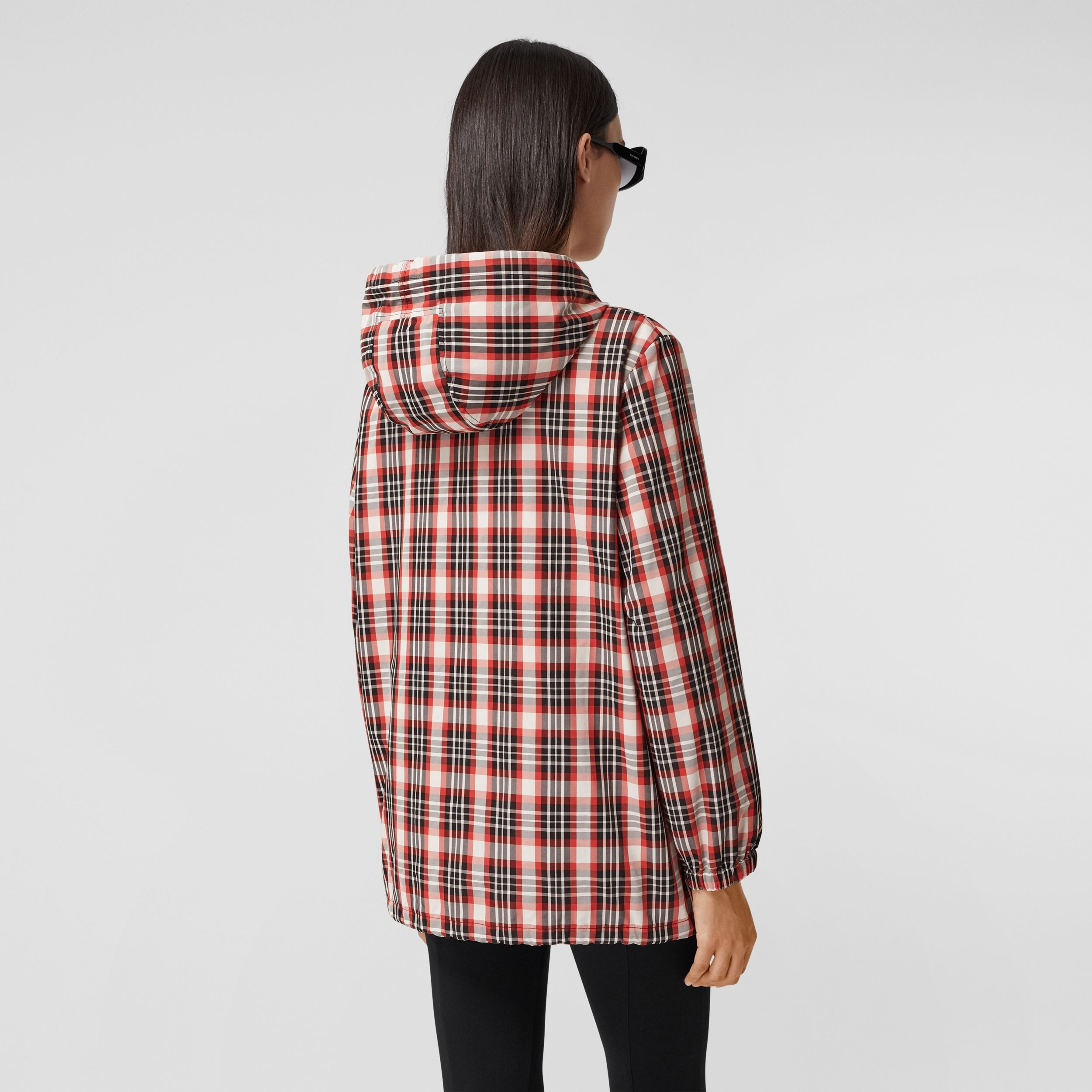 Logo Appliqué Tartan Nylon Parka in Bright Red - Women | Burberry - 3