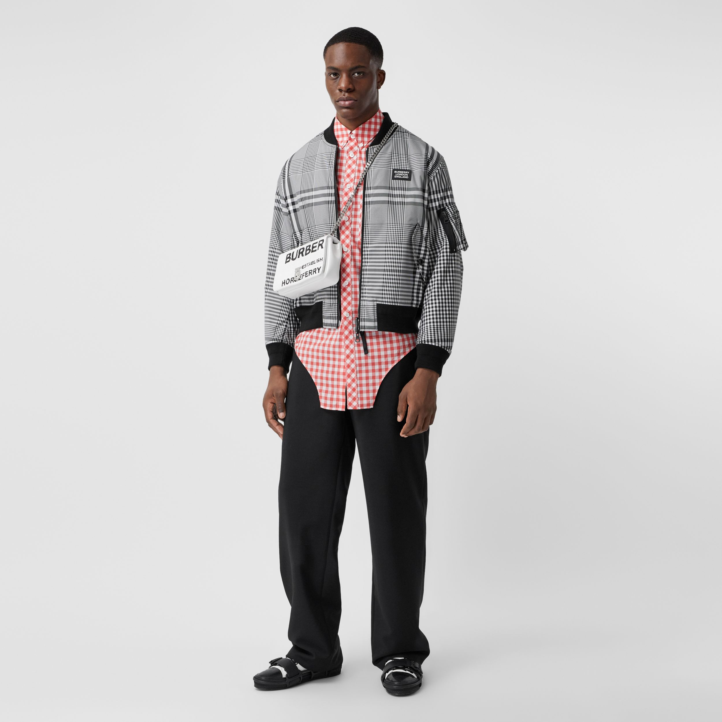 Reversible Check Bomber Jacket in Black/white - Men | Burberry - 1