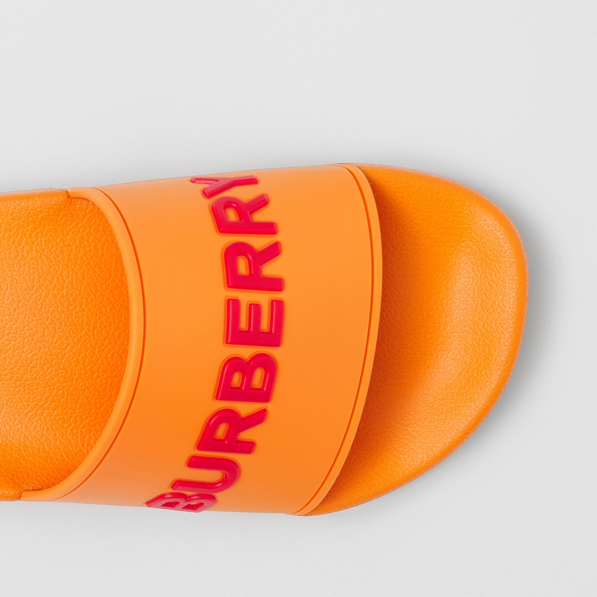 Logo Detail Slides in Deep Orange - Women | Burberry - 2