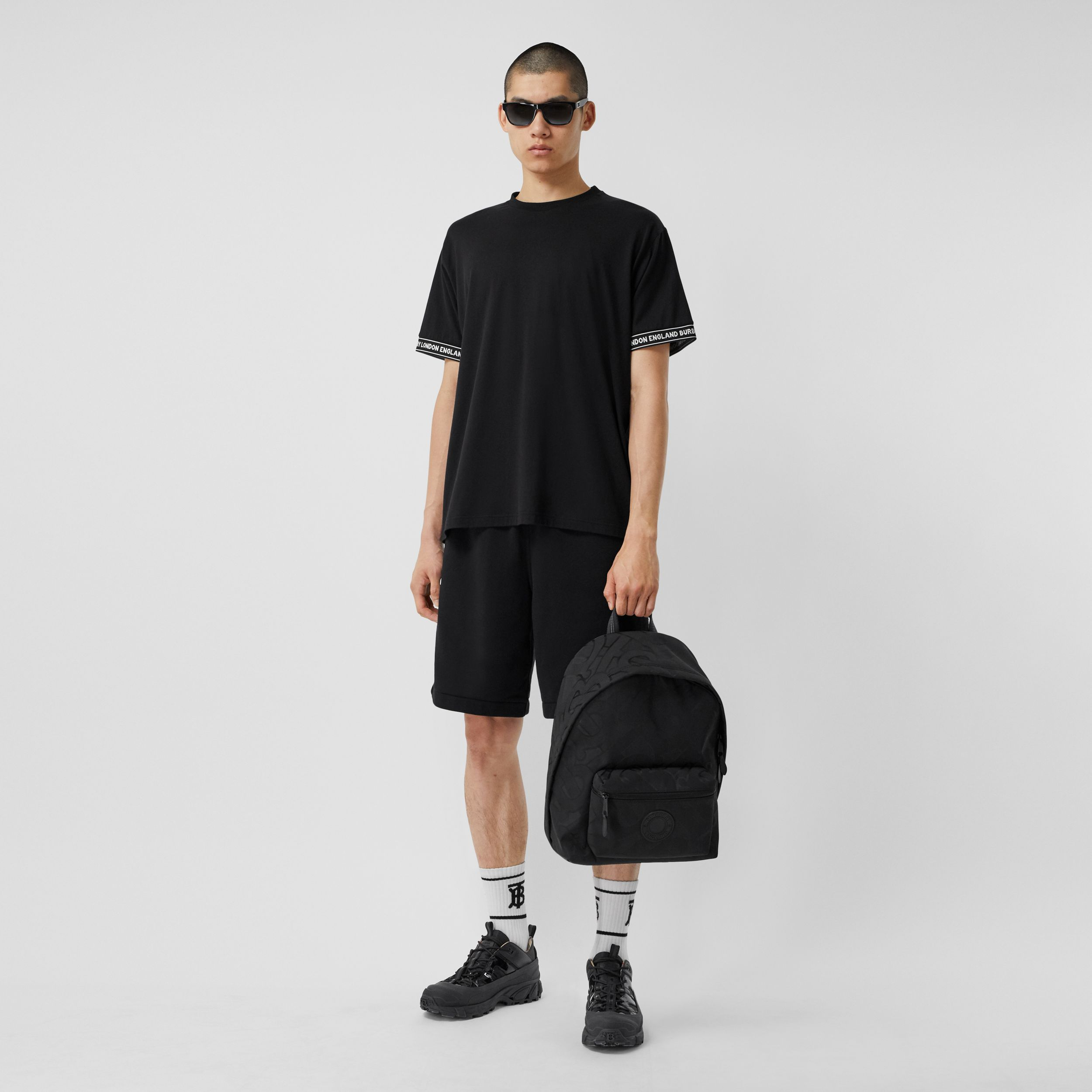 Logo Tape Cotton Drawcord Shorts in Black - Men | Burberry Australia - 1
