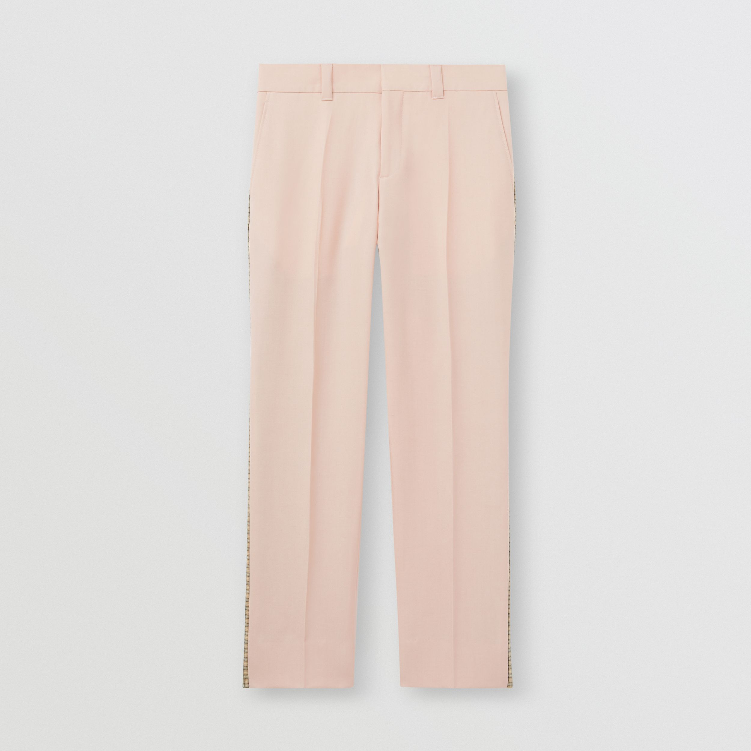 Check Side Stripe Dry Wool Twill Tailored Trousers in Blush Pink - Men | Burberry - 4