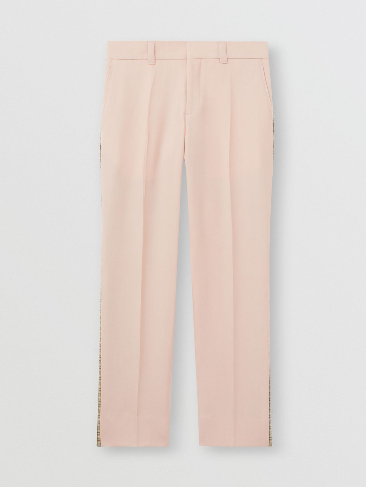 Check Side Stripe Dry Wool Twill Tailored Trousers in Blush Pink
