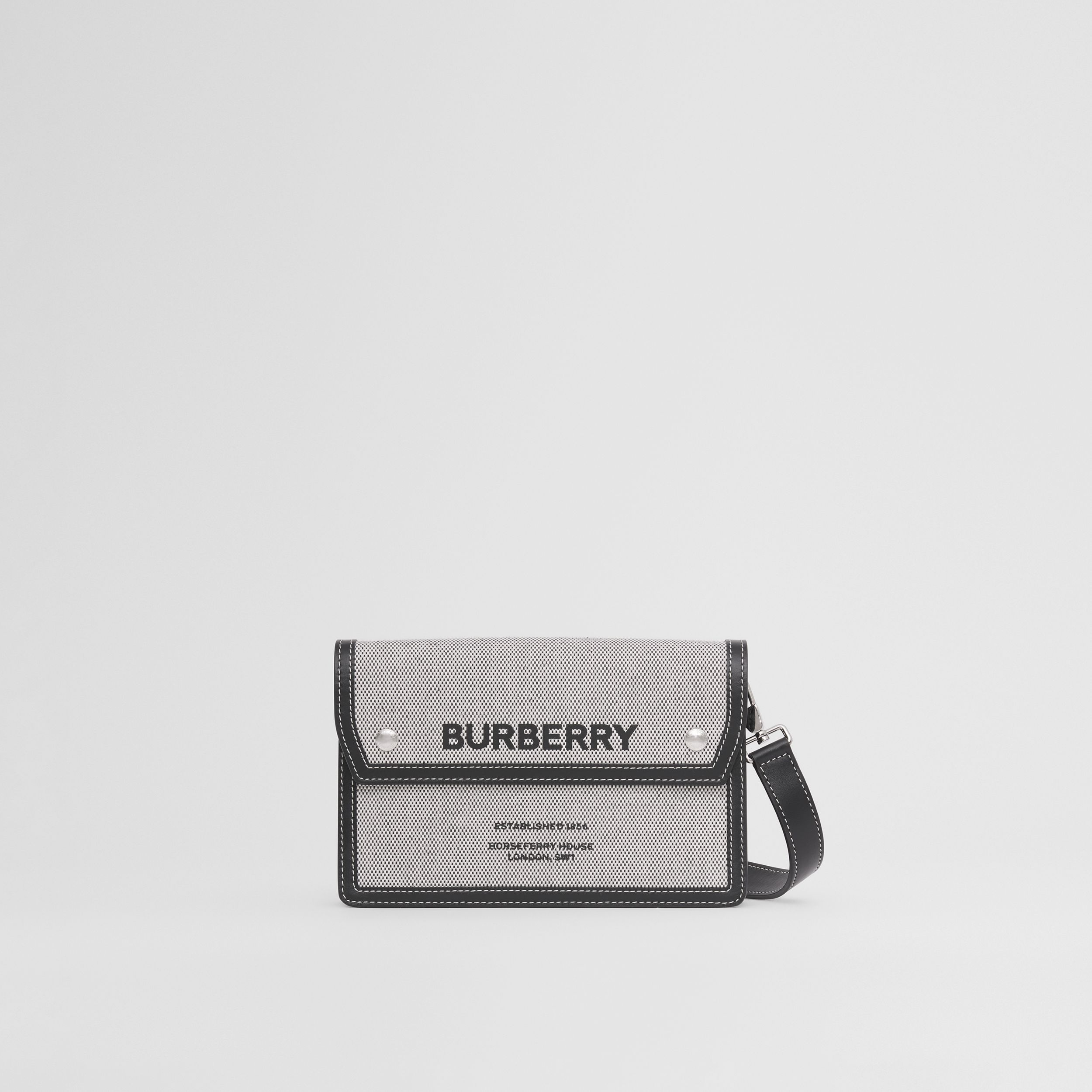 Horseferry Print Canvas and Leather Crossbody Bag in Black - Men | Burberry - 1