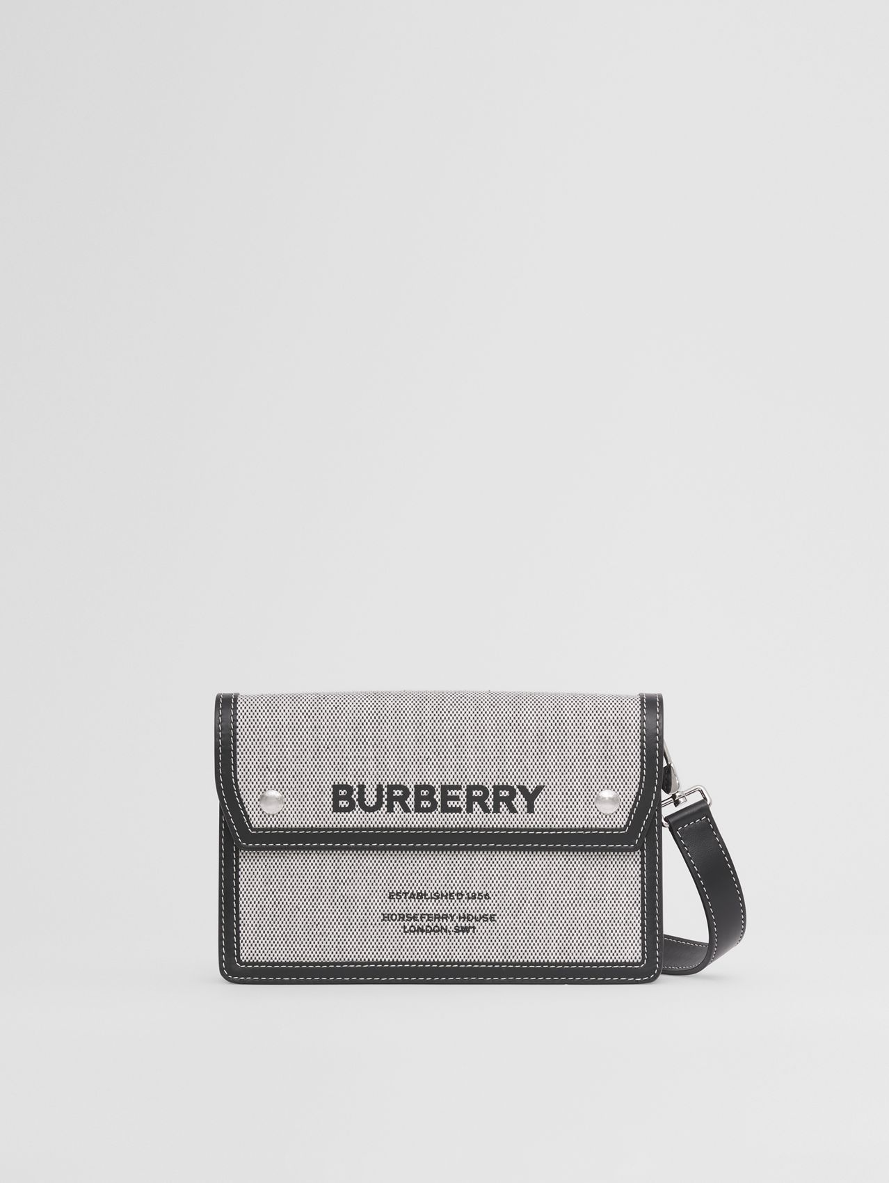 Horseferry Print Canvas and Leather Crossbody Bag in Black