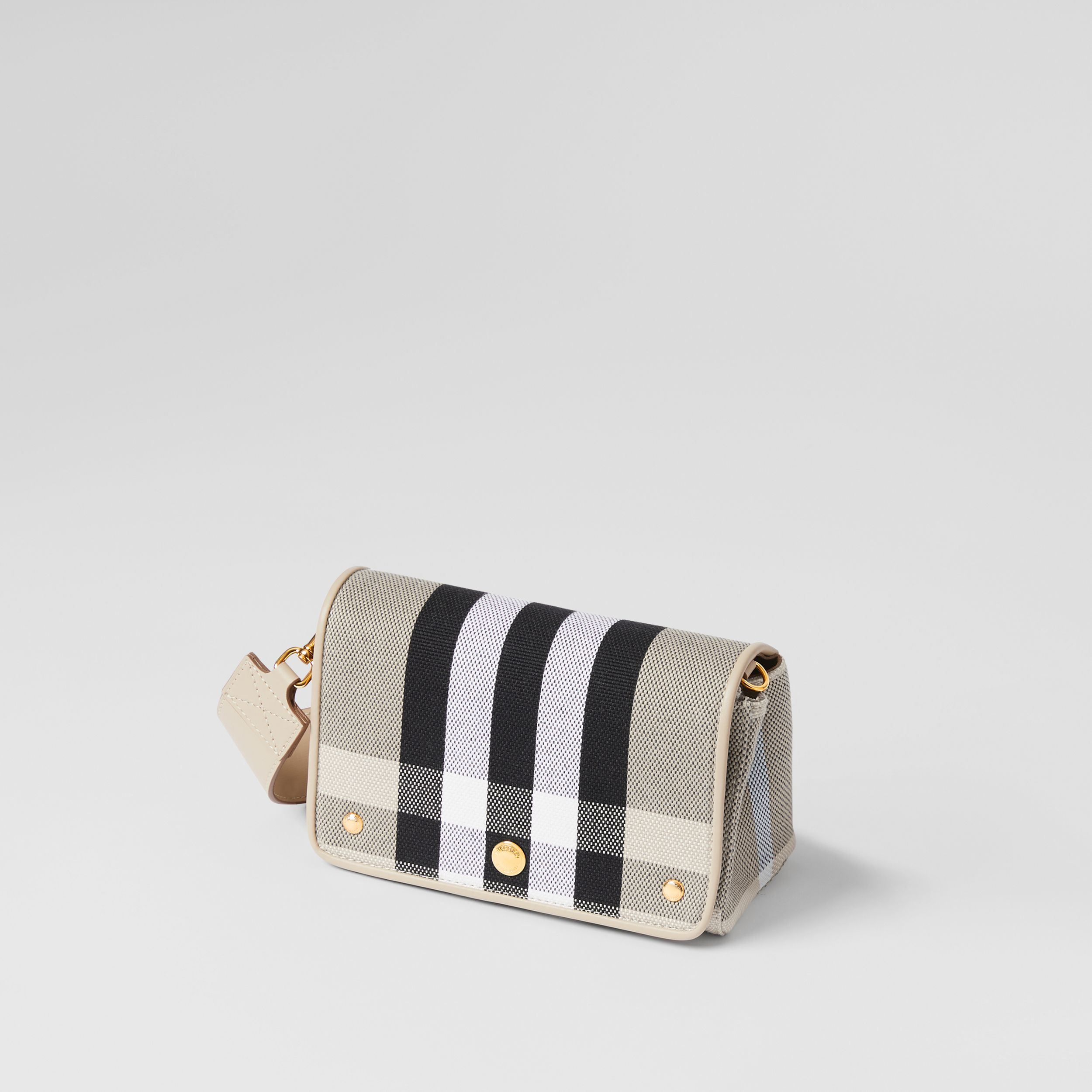 Small Check Canvas Crossbody Bag in Soft Fawn - Women | Burberry - 4