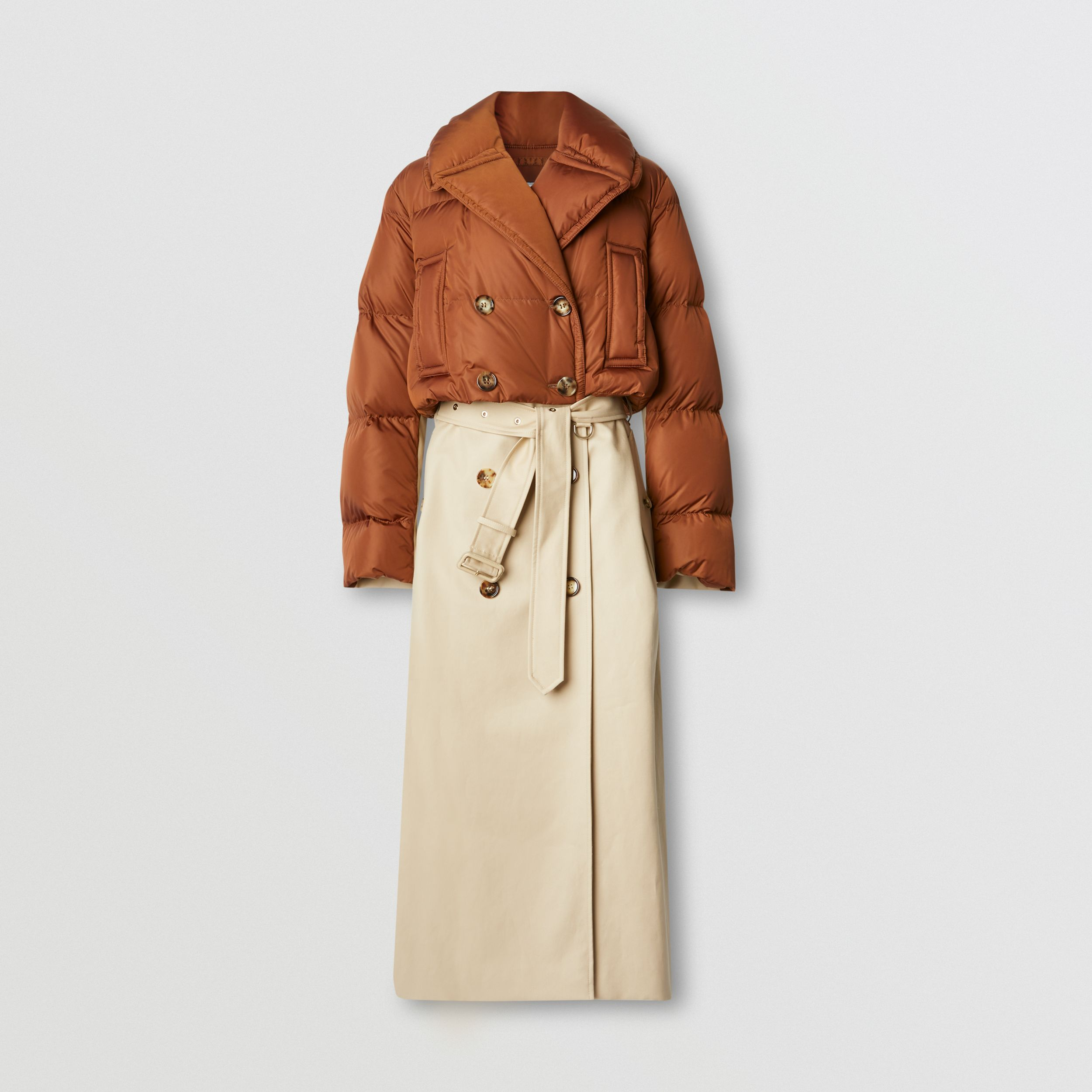 Puffer Jacket Detail Cotton Gabardine Trench Coat in Warm Brown - Women | Burberry Australia - 4