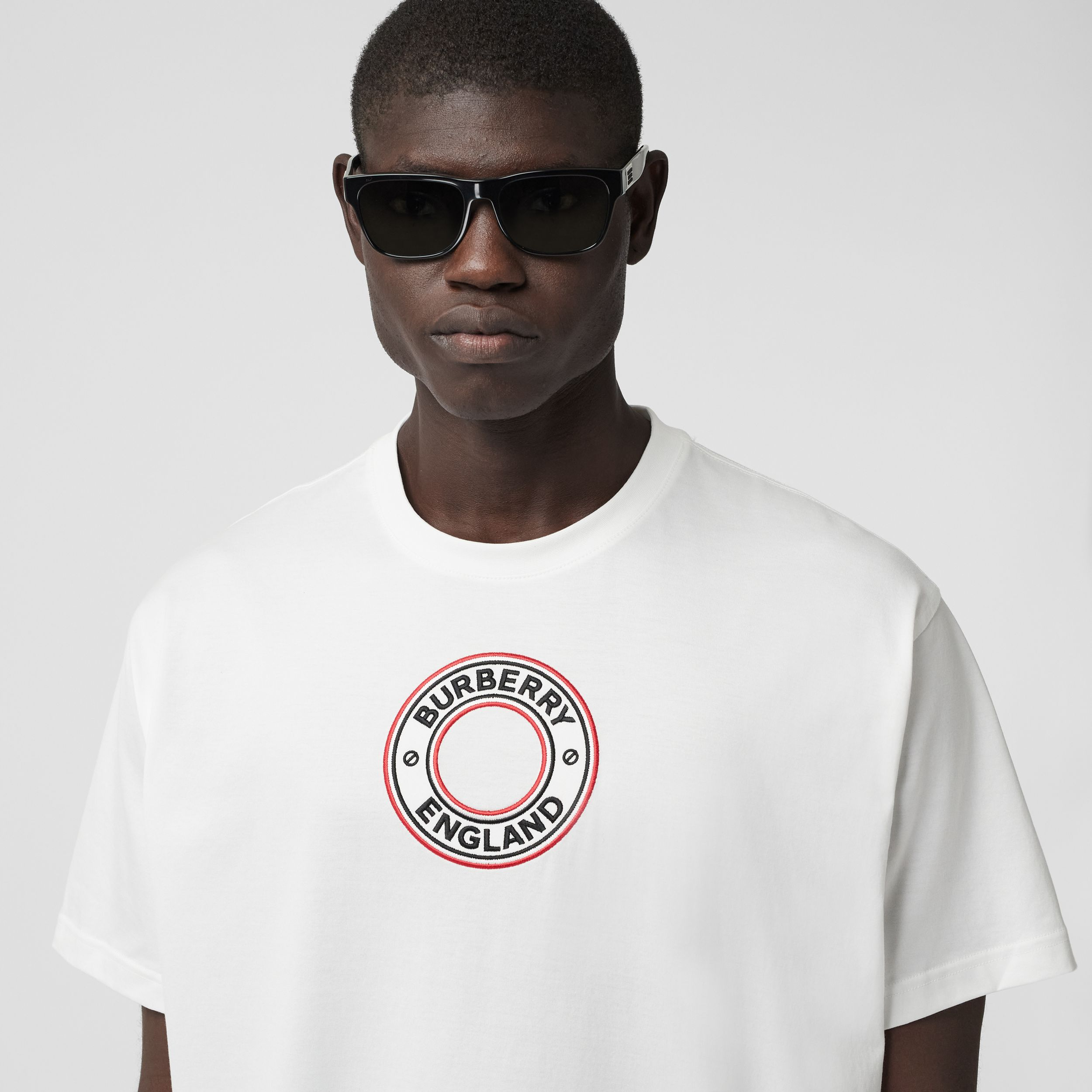 Logo Graphic Appliqué Cotton Oversized T-shirt in White - Men | Burberry - 2
