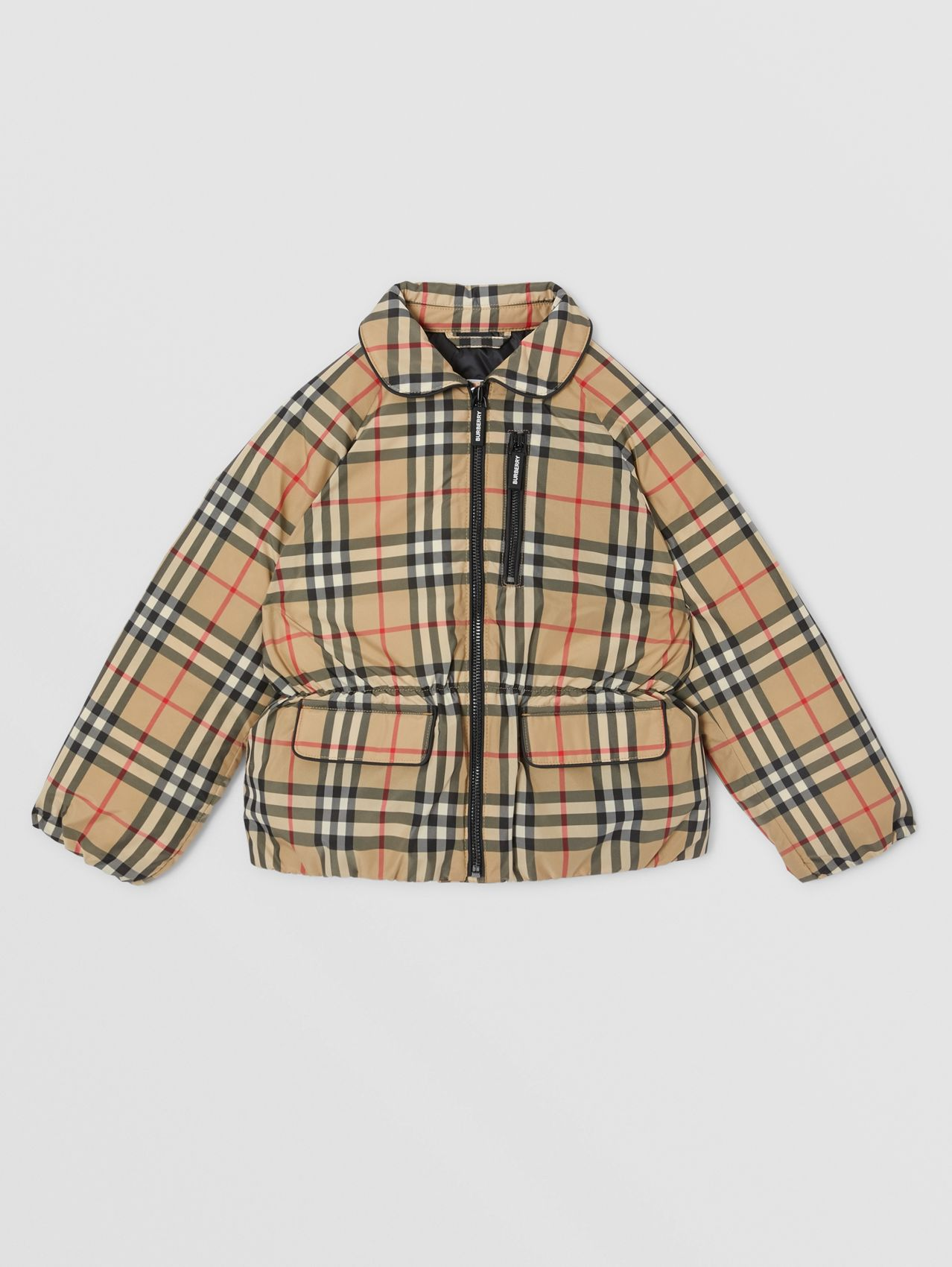 Vintage Check Down-filled Recycled Polyester Jacket in Archive Beige