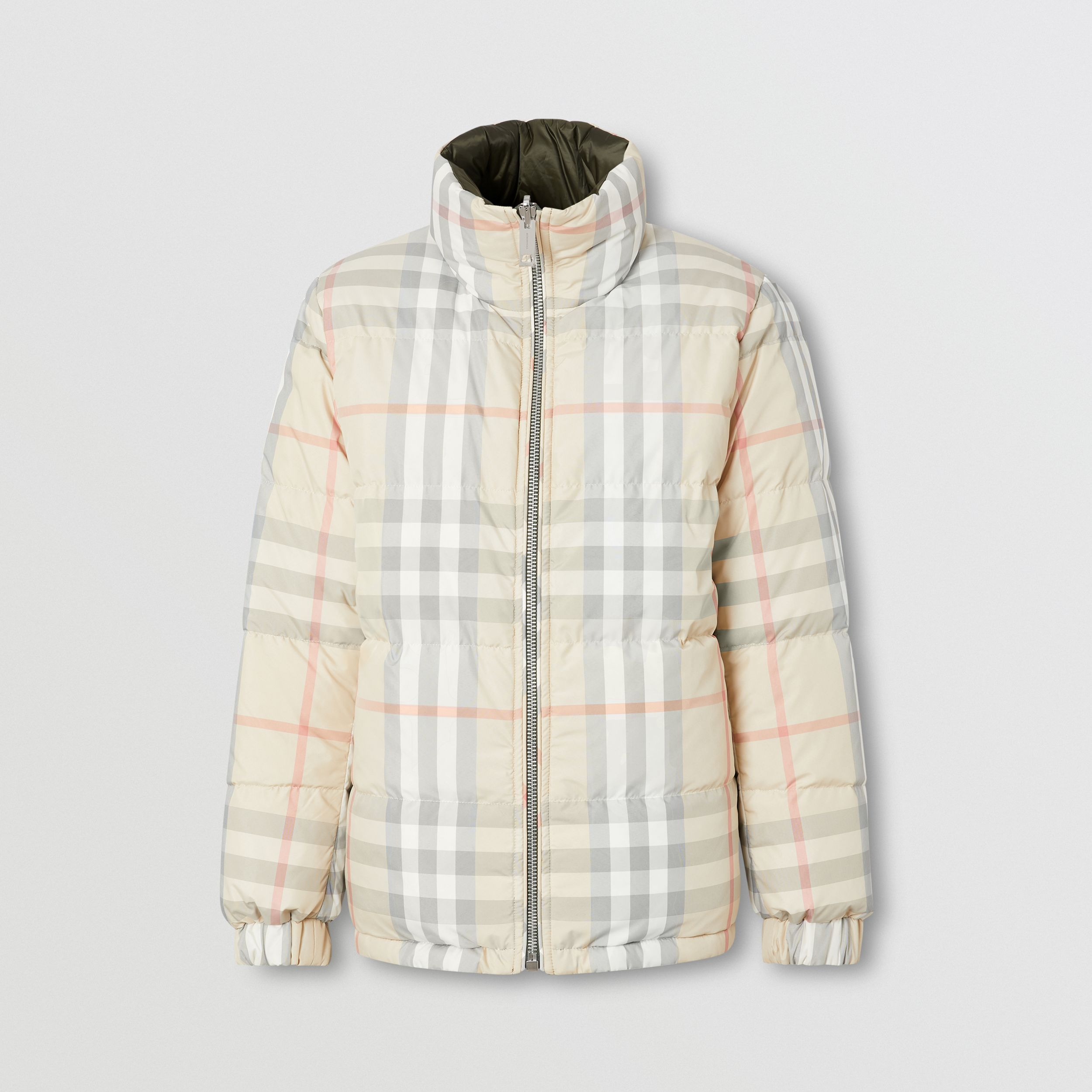 Reversible Check Puffer Jacket in Olive - Women | Burberry - 1