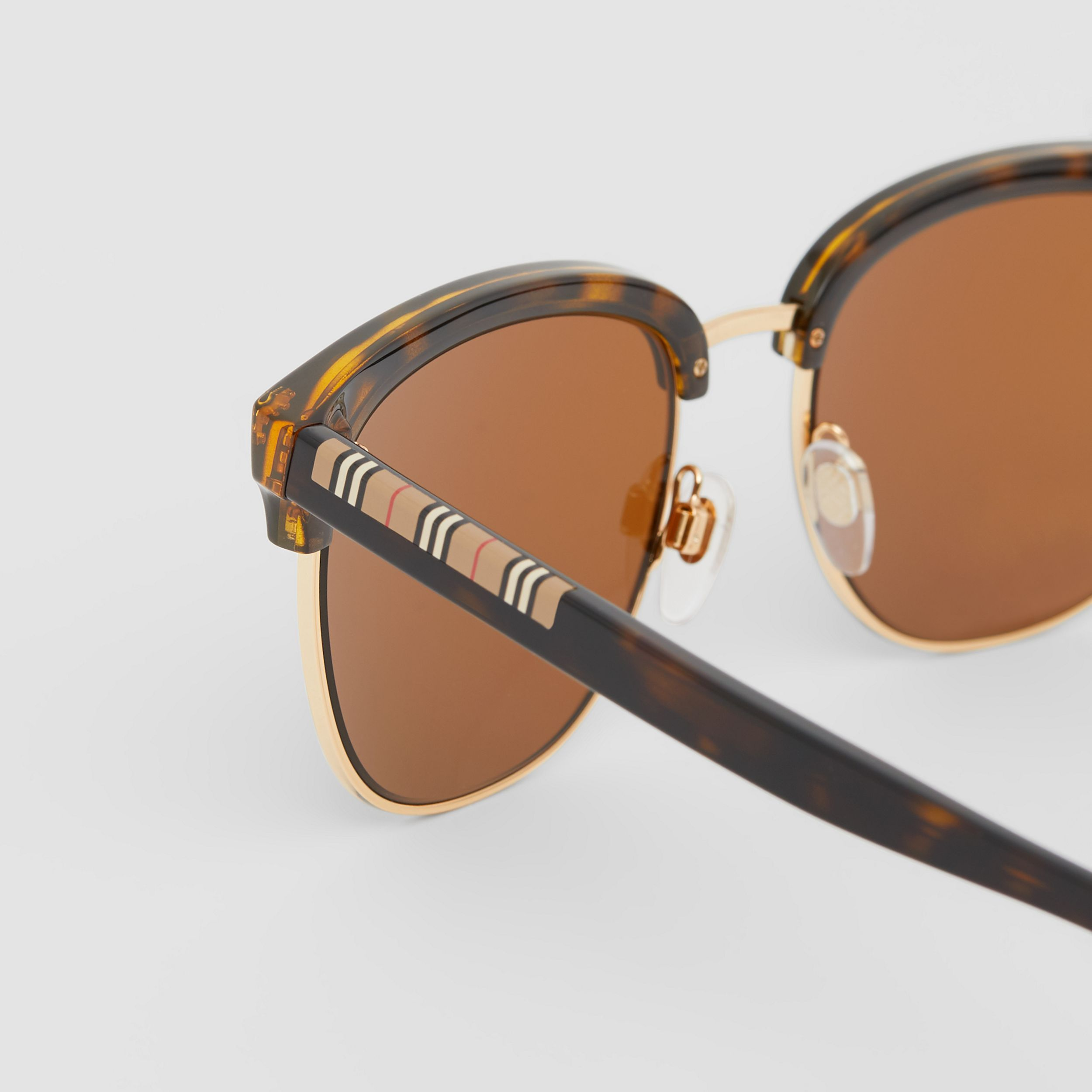 Icon Stripe Detail Square Frame Sunglasses in Tortoiseshell - Men | Burberry - 2