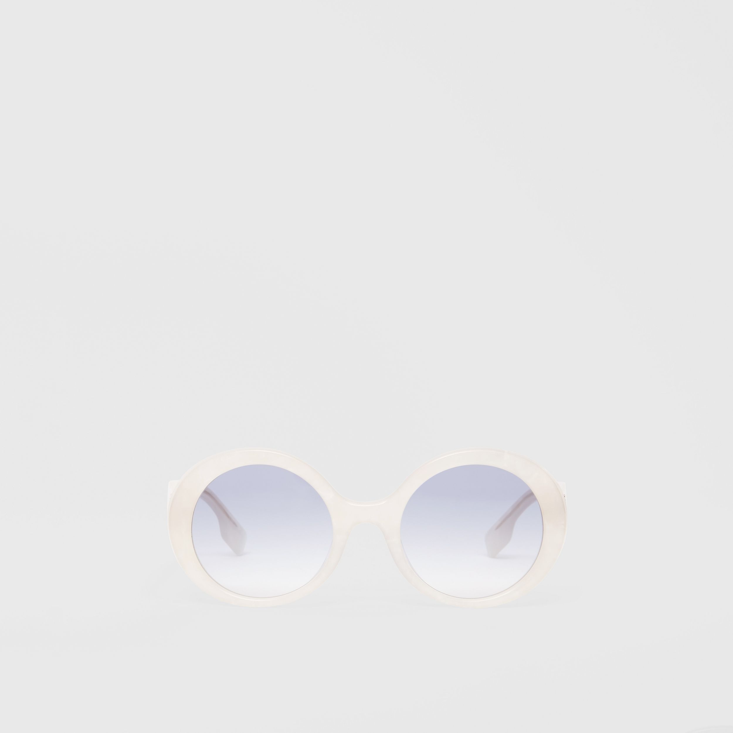 Oversized Round Frame Sunglasses in Pearl - Women | Burberry - 1
