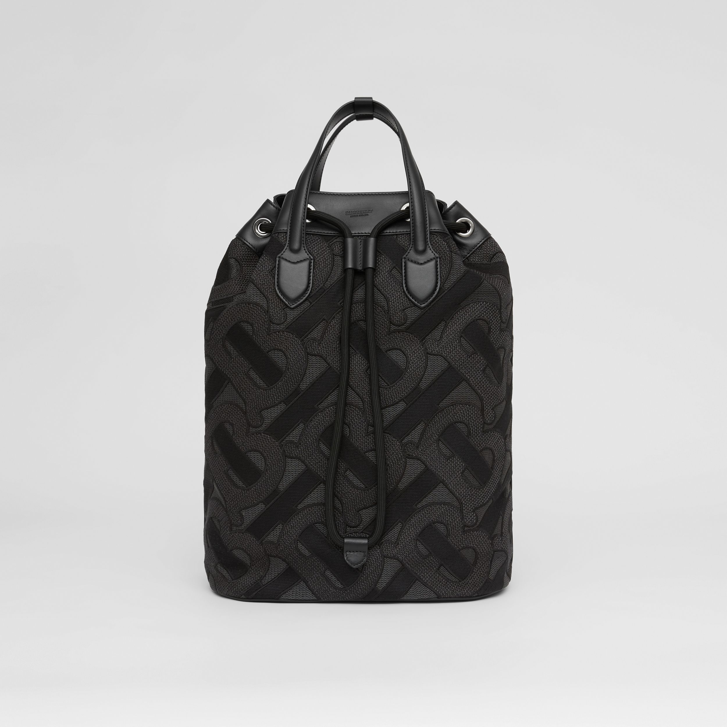 Monogram Cotton Drawcord Backpack in Charcoal Grey | Burberry - 1