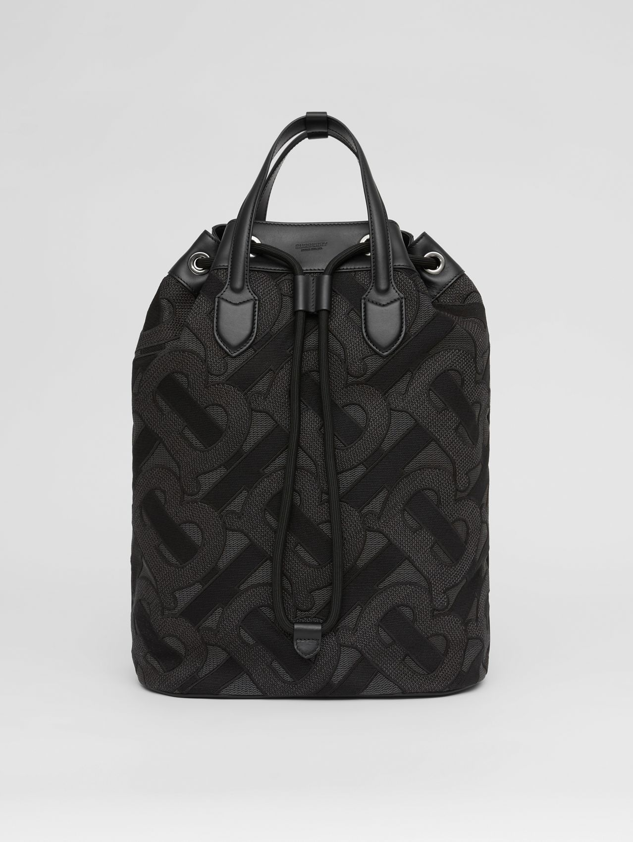 Monogram Cotton Drawcord Backpack in Charcoal Grey