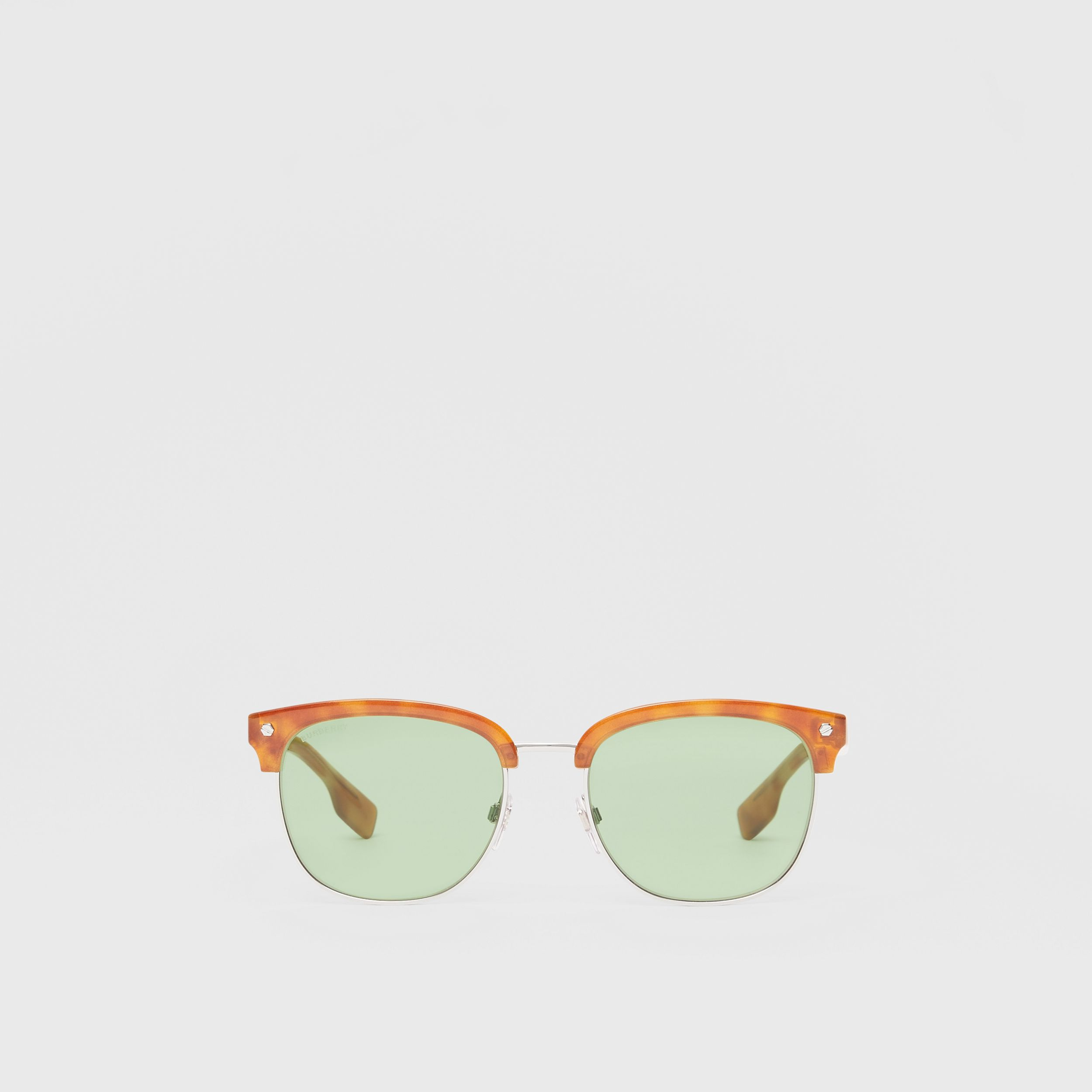 Icon Stripe Detail Square Frame Sunglasses in Bright Tortoiseshell - Men | Burberry - 1