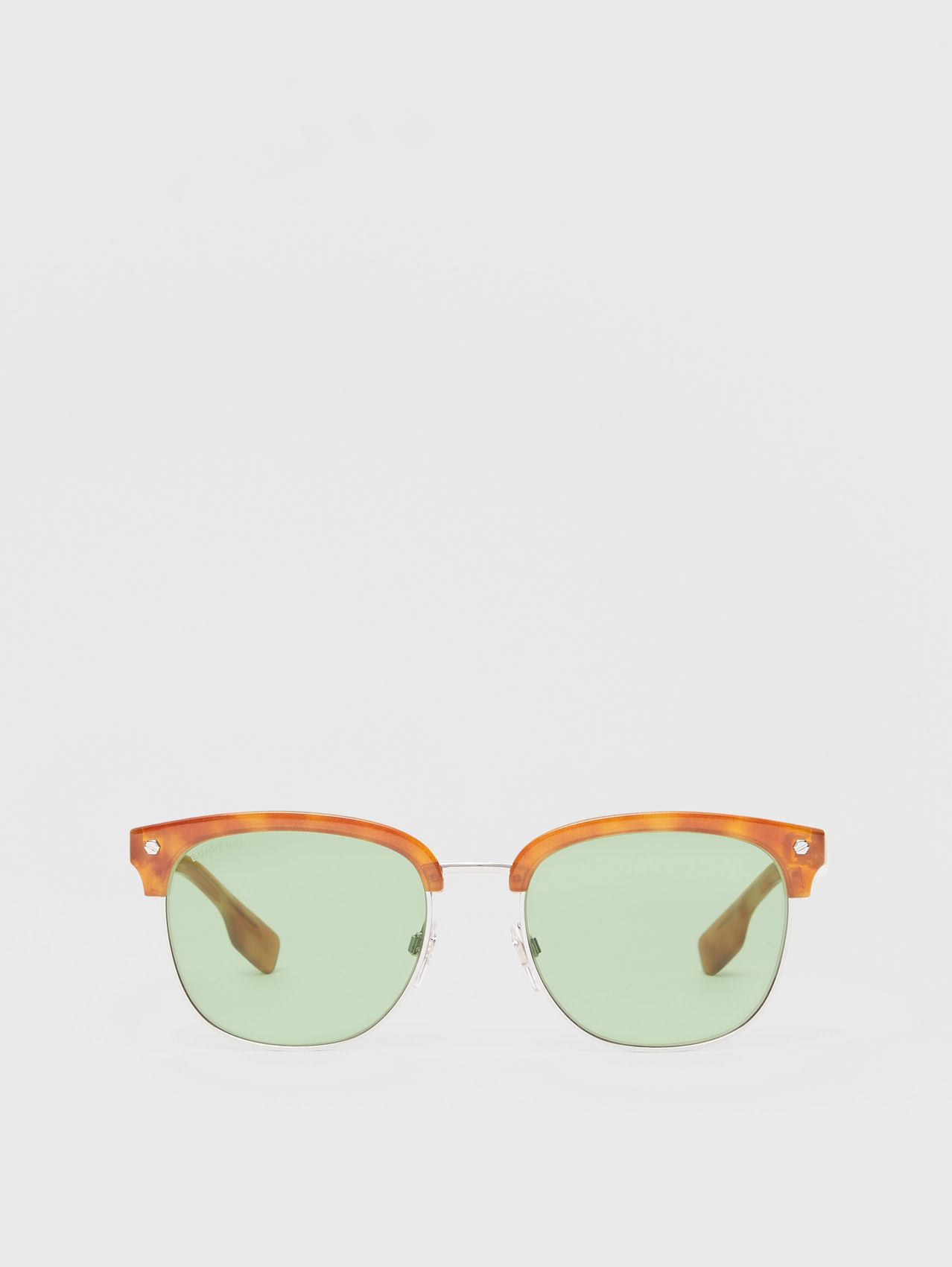 Icon Stripe Detail Square Frame Sunglasses in Bright Tortoiseshell