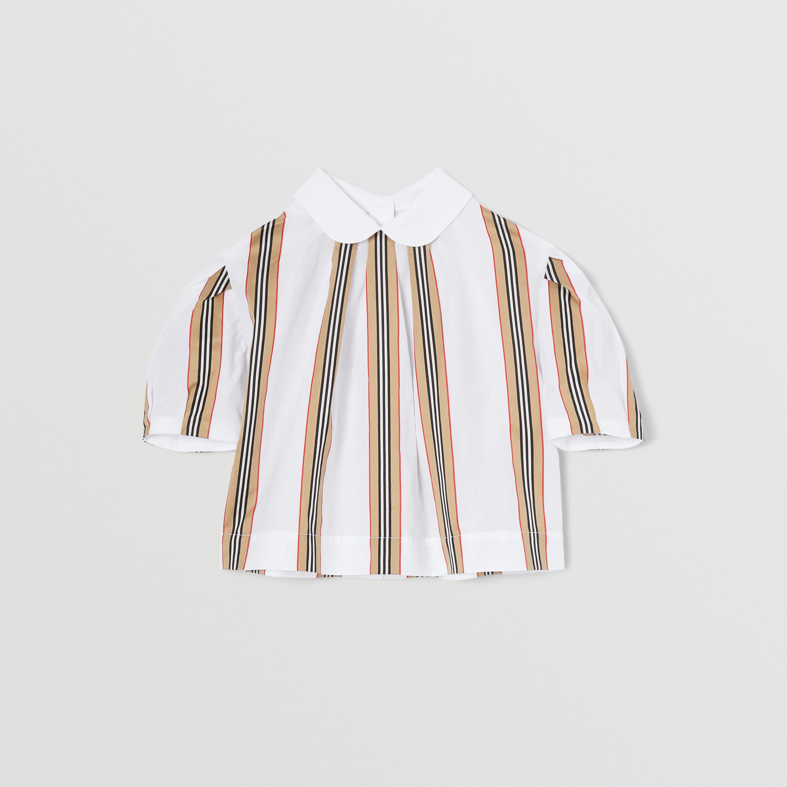 Peter Pan Collar Icon Stripe Cotton Blouse in White | Burberry - 1