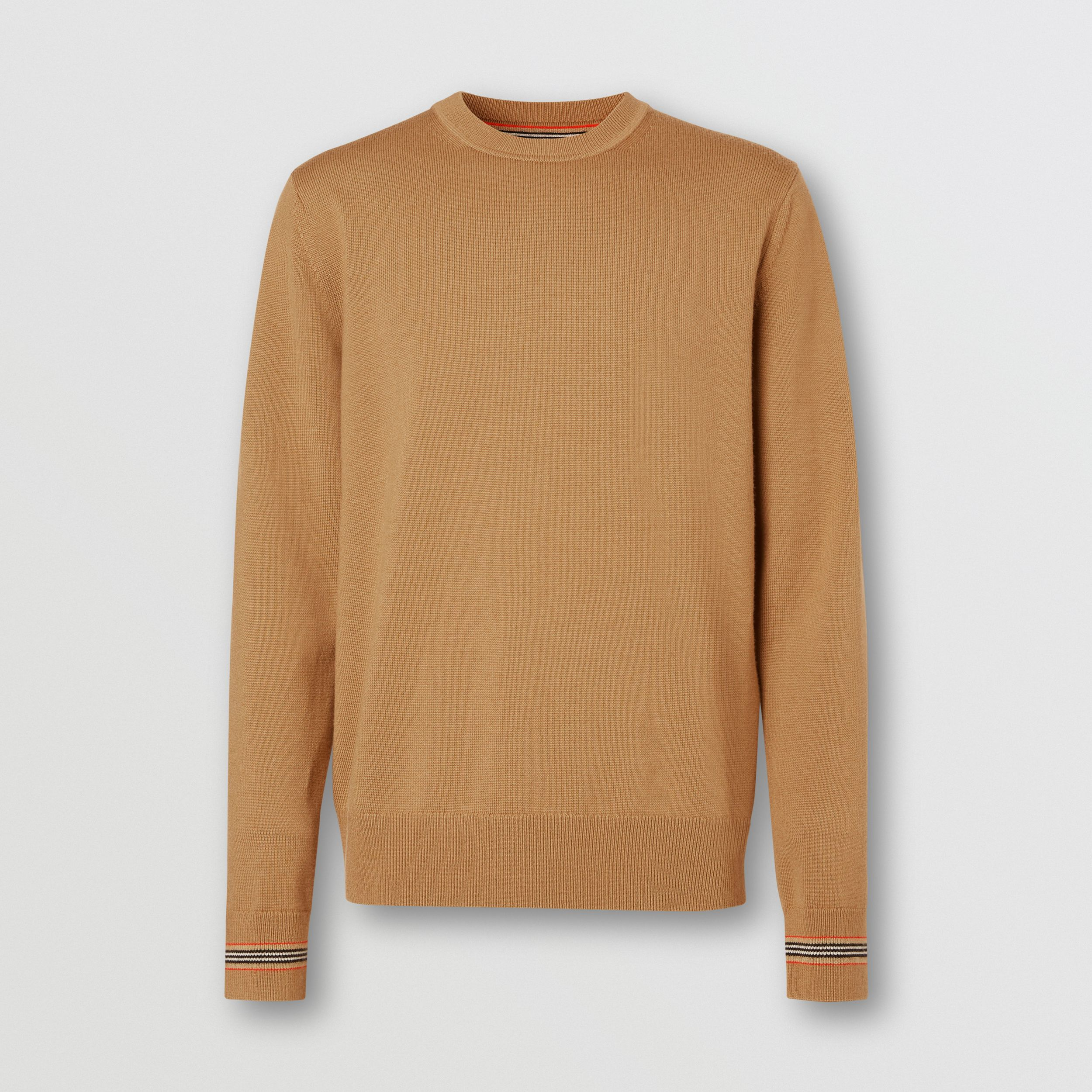 Icon Stripe Trim Merino Wool Sweater in Camel - Men | Burberry - 4