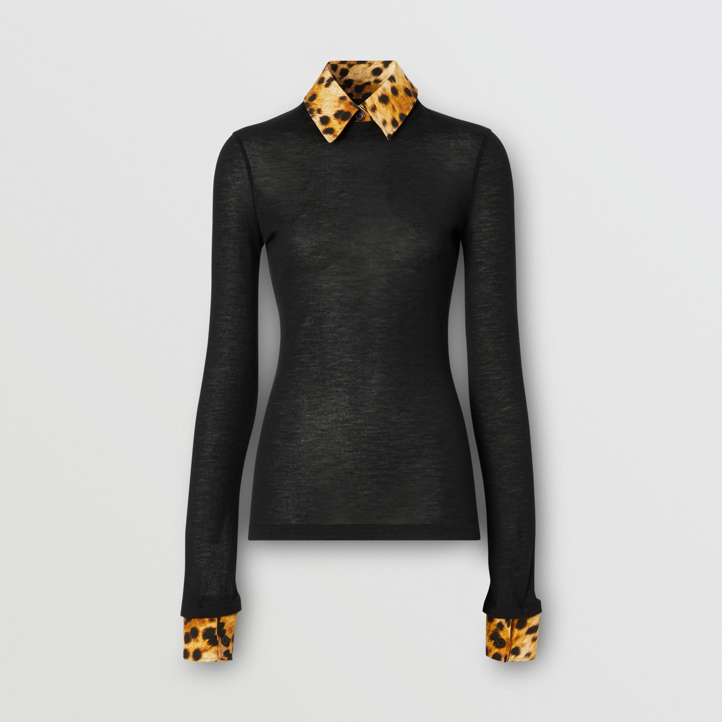 Long-sleeve Spotted Monkey Print Trim Cashmere Top in Black - Women | Burberry - 4