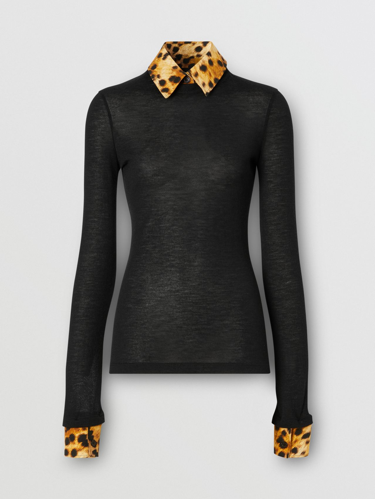 Long-sleeve Spotted Monkey Print Trim Cashmere Top in Black
